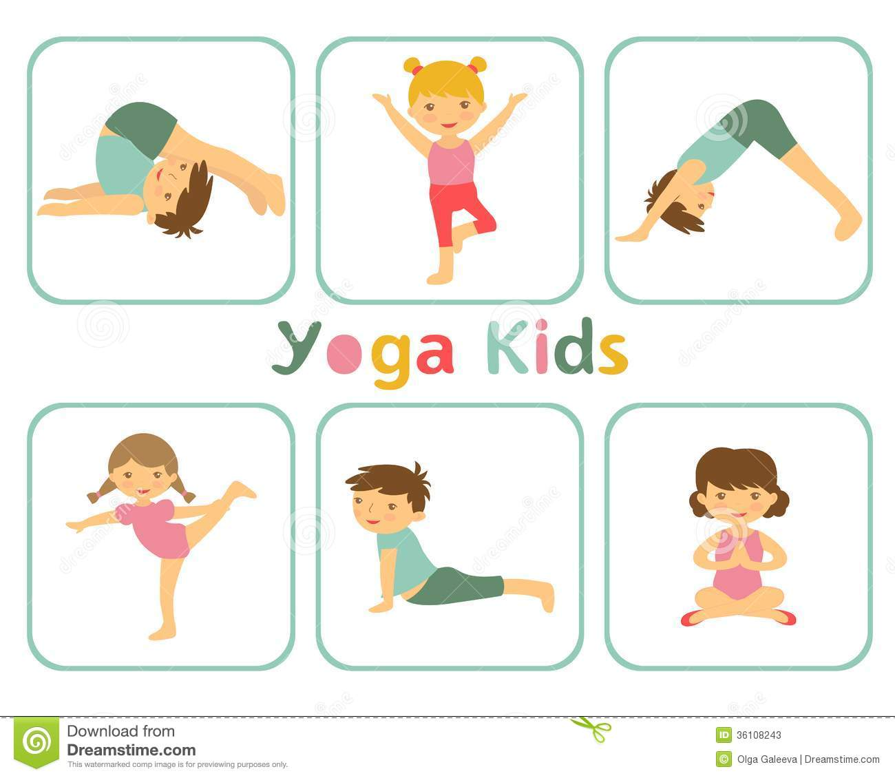 An illustration of little kids doing yoga.
