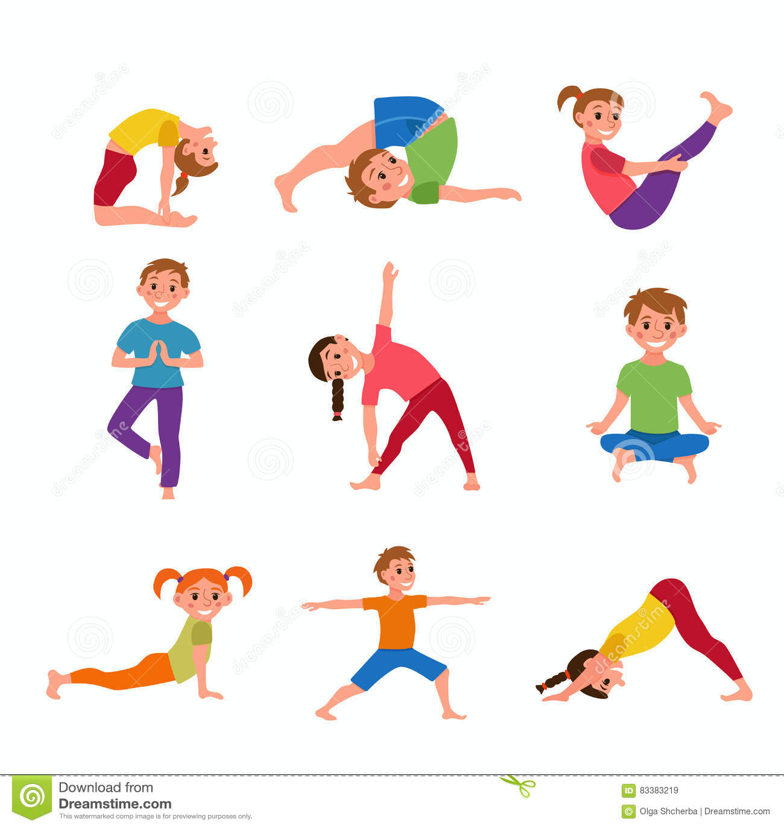 Yoga Kids Poses Stock Vector Illustration Of Balance 83383219