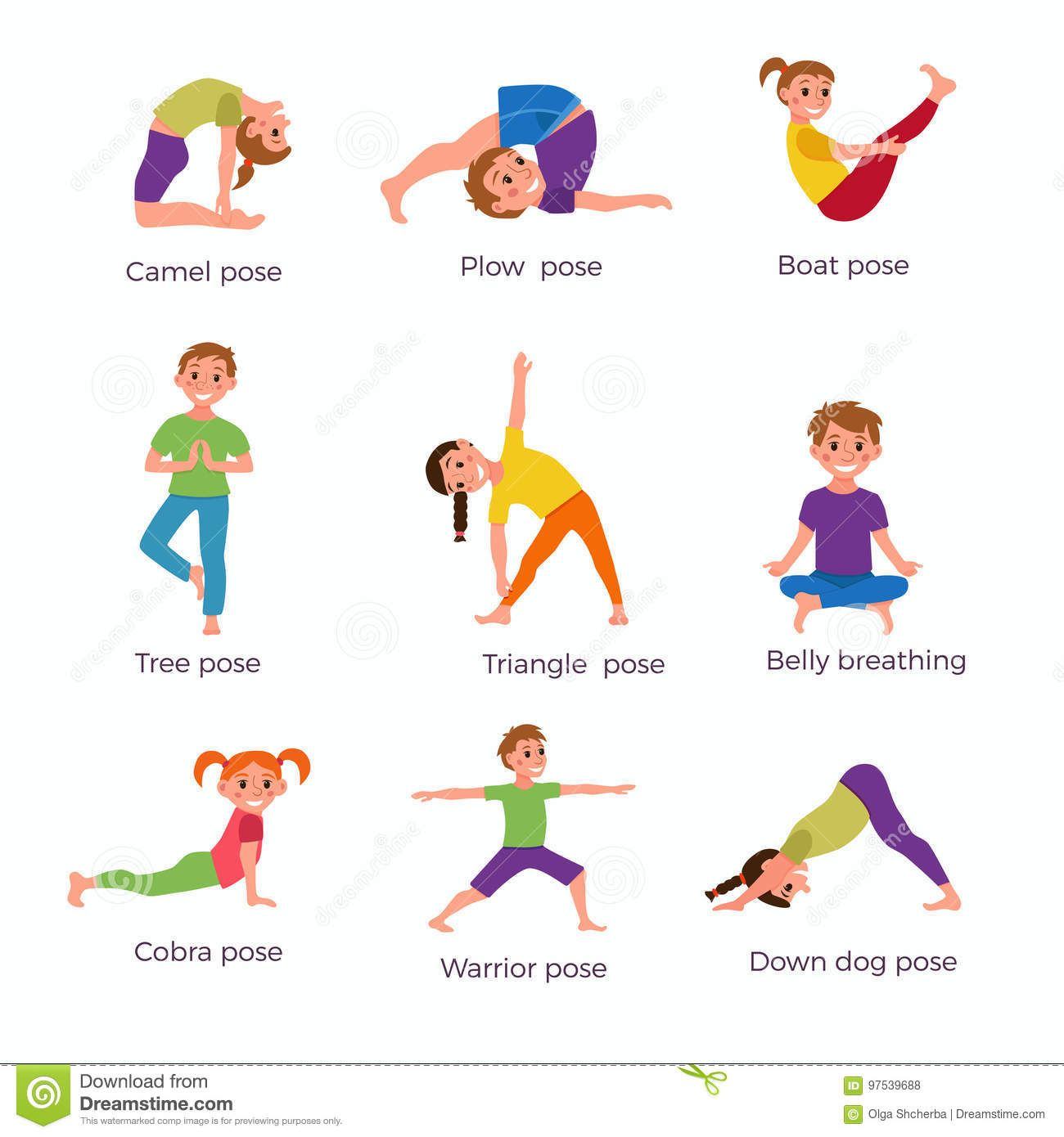 Yoga Kids Poses Set Stock Vector Illustration Of Cute