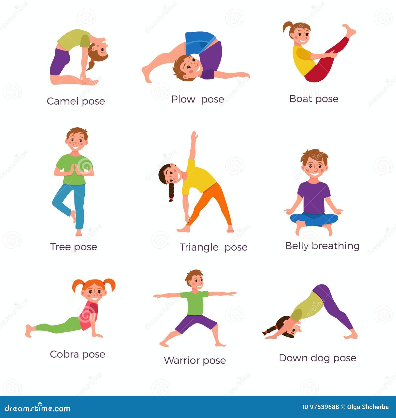 Yoga Kids Poses Set Stock Vector Illustration Of Cute