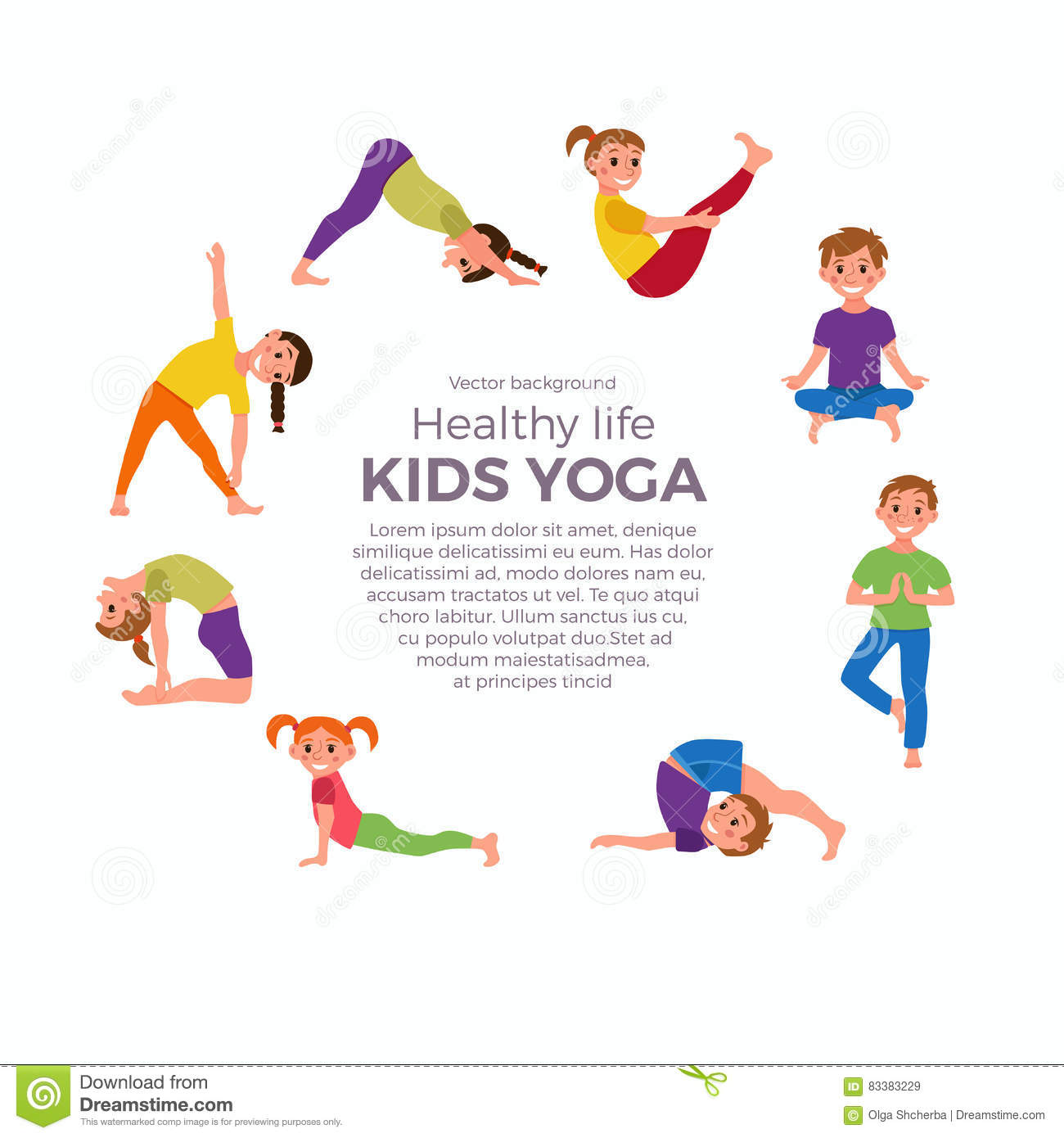 Yoga kids poses stock vector. Image of balance, background ...