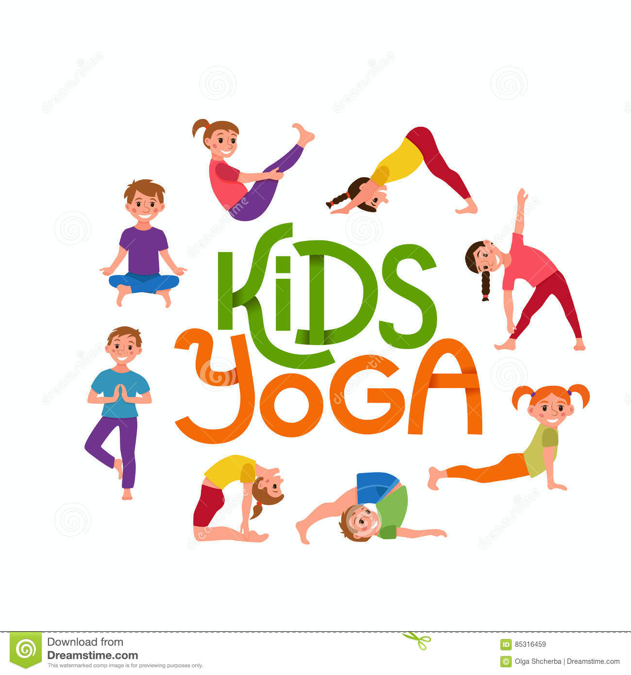 Download Yoga Kids Poses Set Stock Vector Illustration Of Clipart