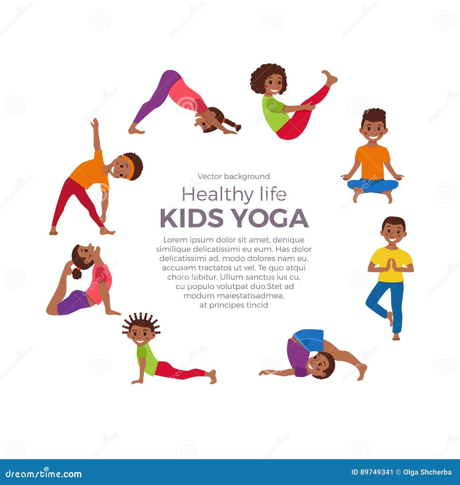 Yoga Kids Poses Set Stock Vector Illustration Of Brown 89749341