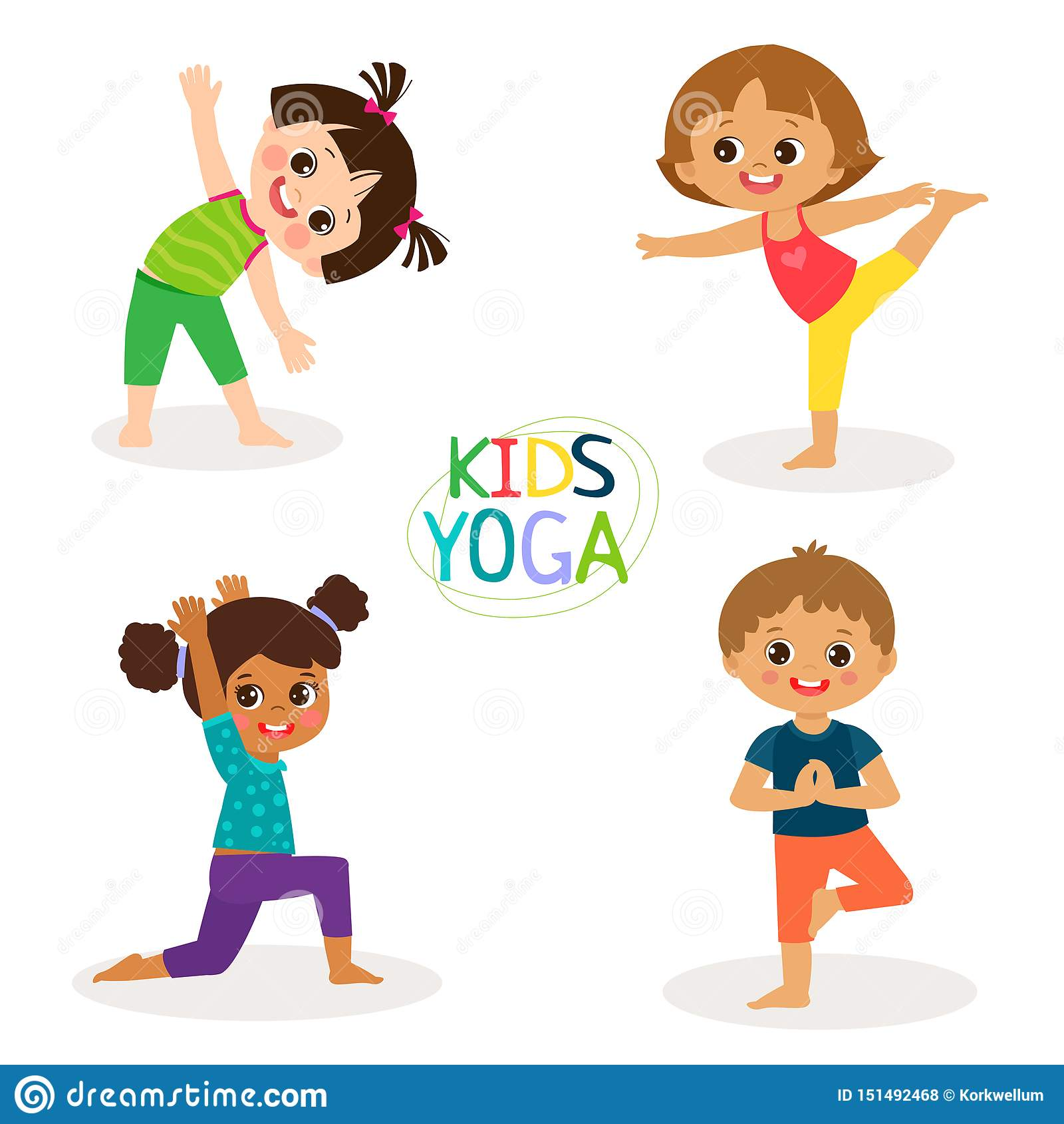 Yoga Kids Poses Vector Cartoon Illustration Little Girls And Boys Doing Yoga Set Stock Vector Illustration Of Flexibility Isolated 151492468