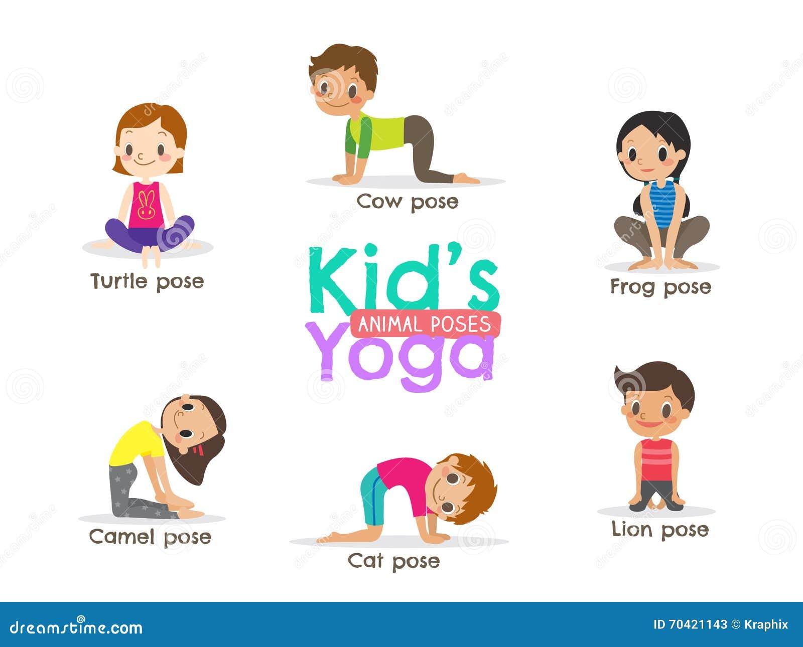 Yoga Kids Poses Vector Illustration Stock Vector - Illustration of