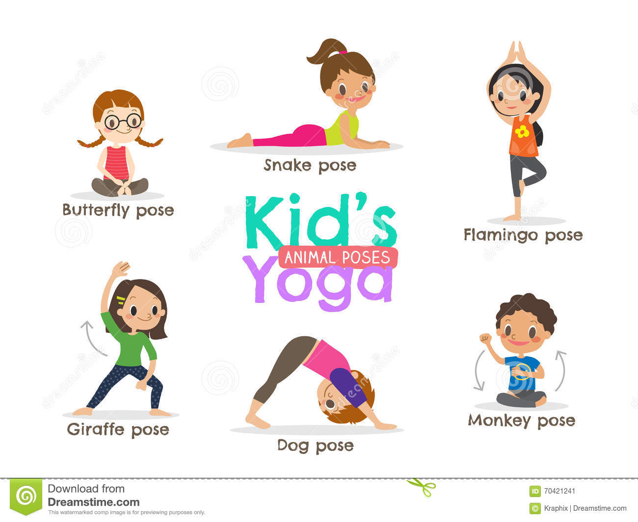 Yoga Kids Poses Vector Illustration Stock Vector - Image ...