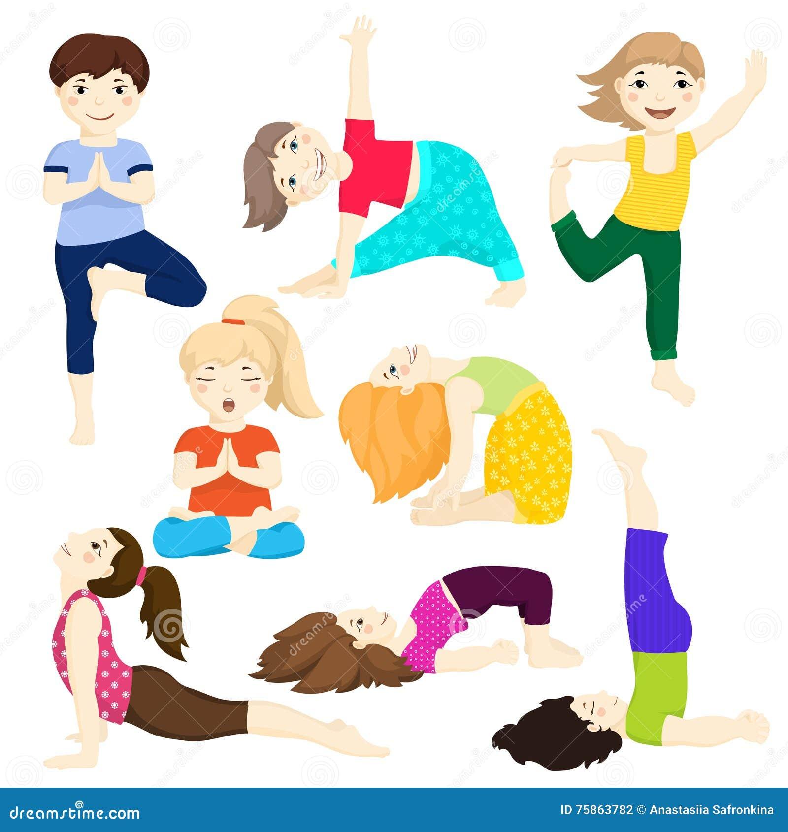 Yoga Kids Set 3 Stock Illustration Illustration Of Balance 75863782