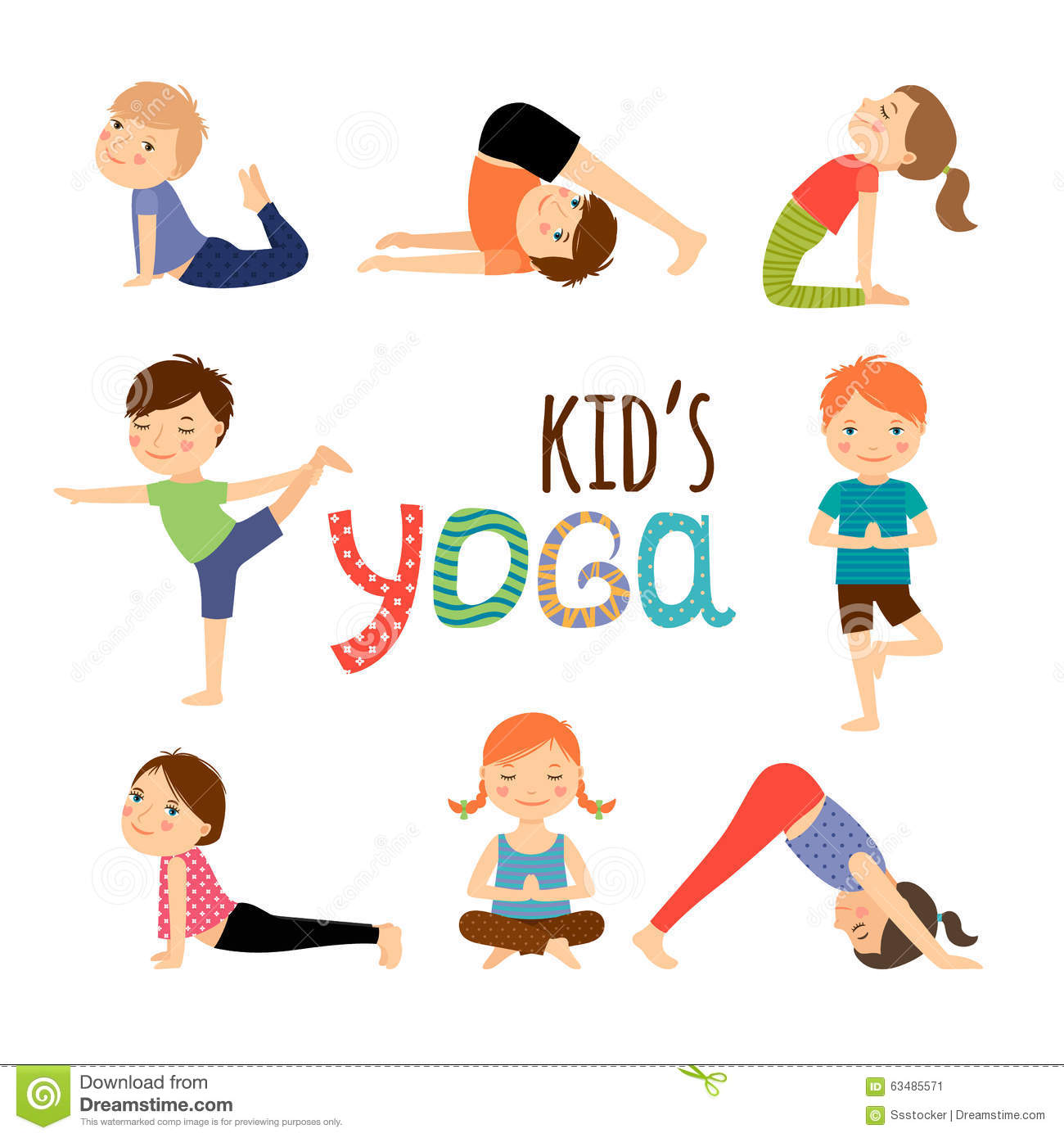 Yoga Kids Set Stock Vector Image 63485571