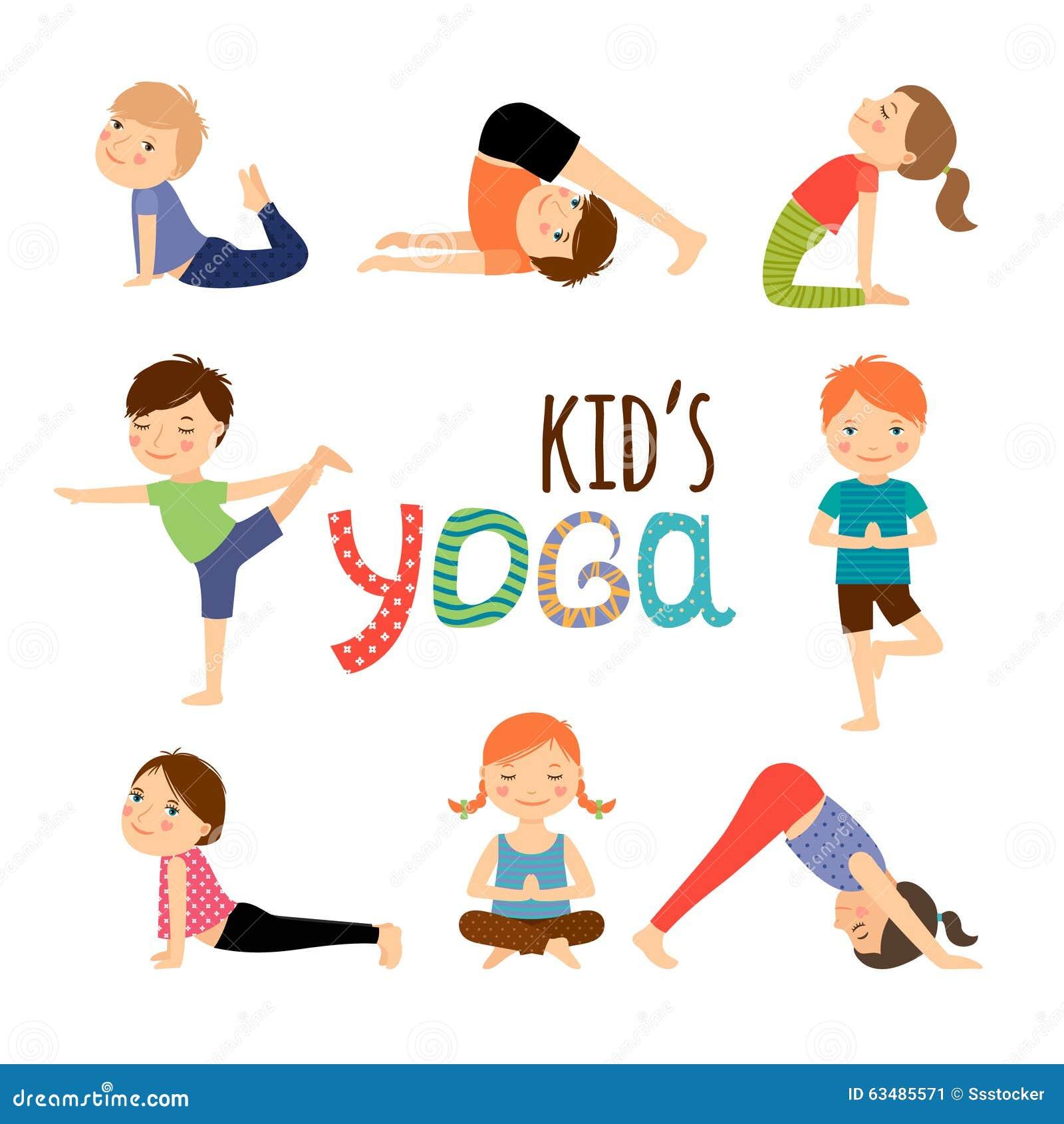 stock illustration children yoga vector kids doing different poses
