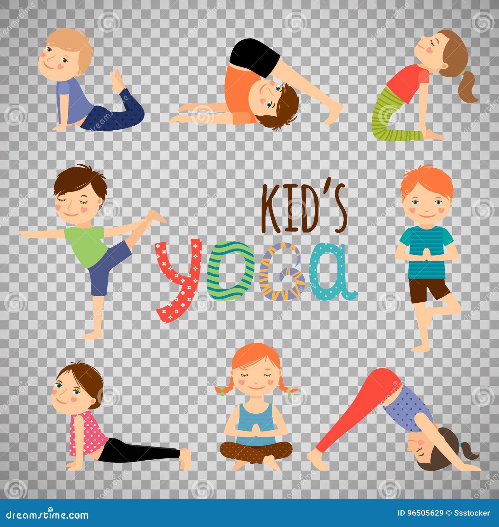 Yoga Kids Set On Transparent Background Stock Vector Illustration Of Beautiful Child 96505629