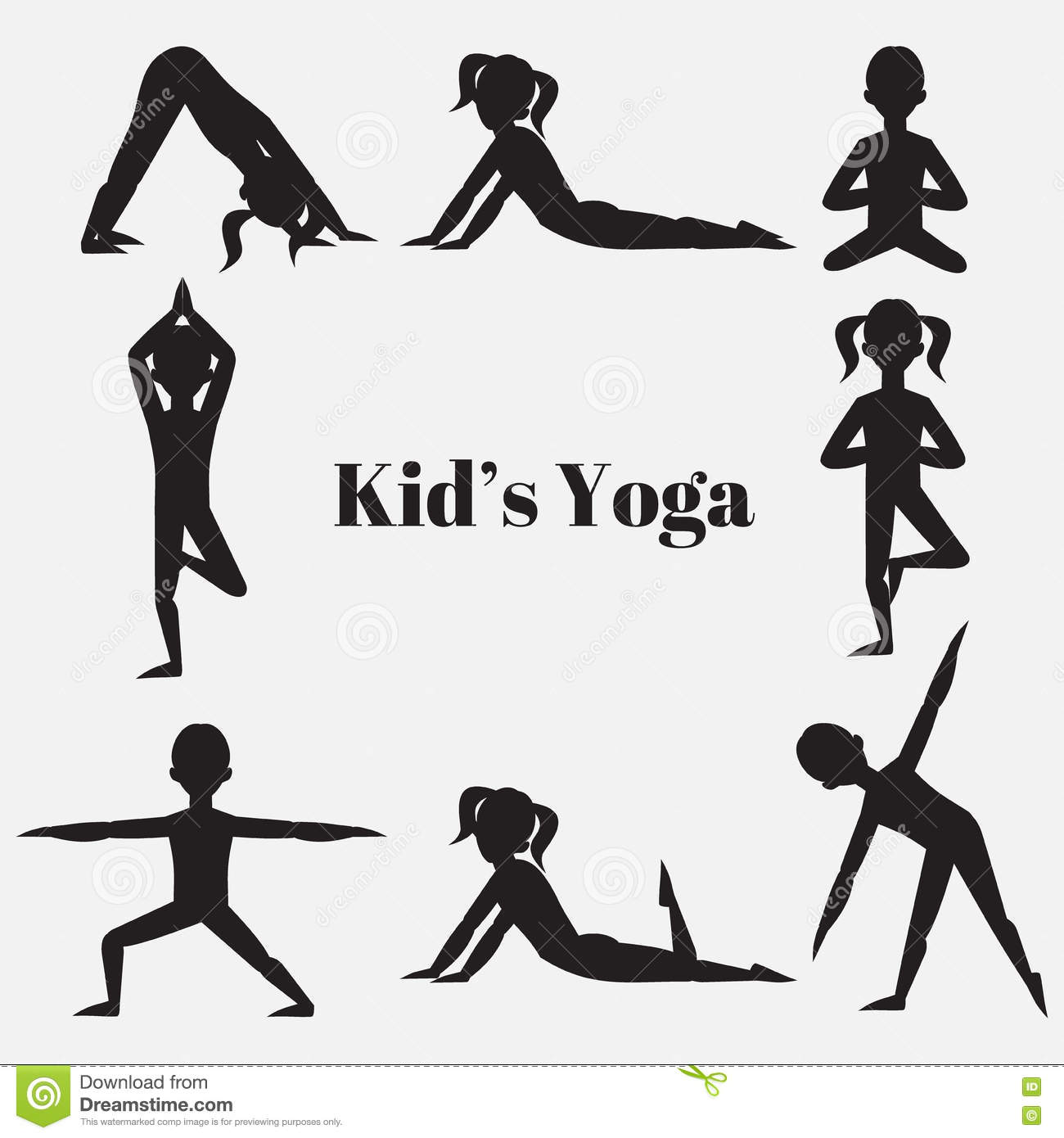 Yoga Kids Silhouette Set Gymnastics For Children And Healthy