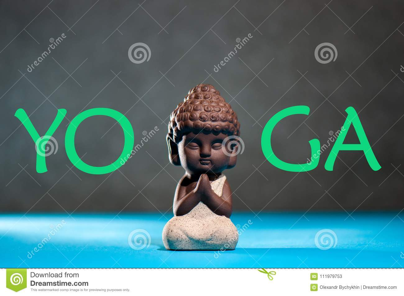 Yoga Little Buddha With His Hand In Greeting Sign Namaste And Yoga