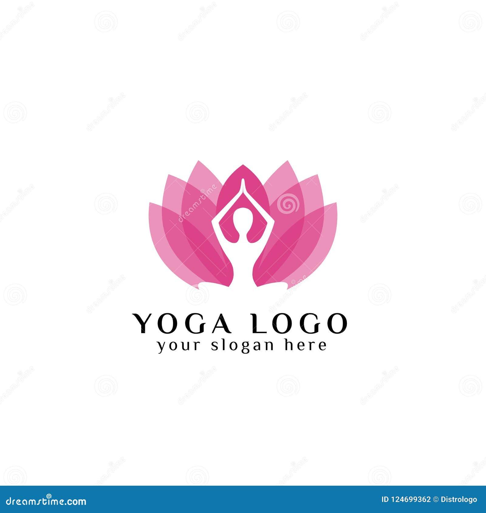 Yoga Logo Design Stock Meditation In Lotus Flower Illustration