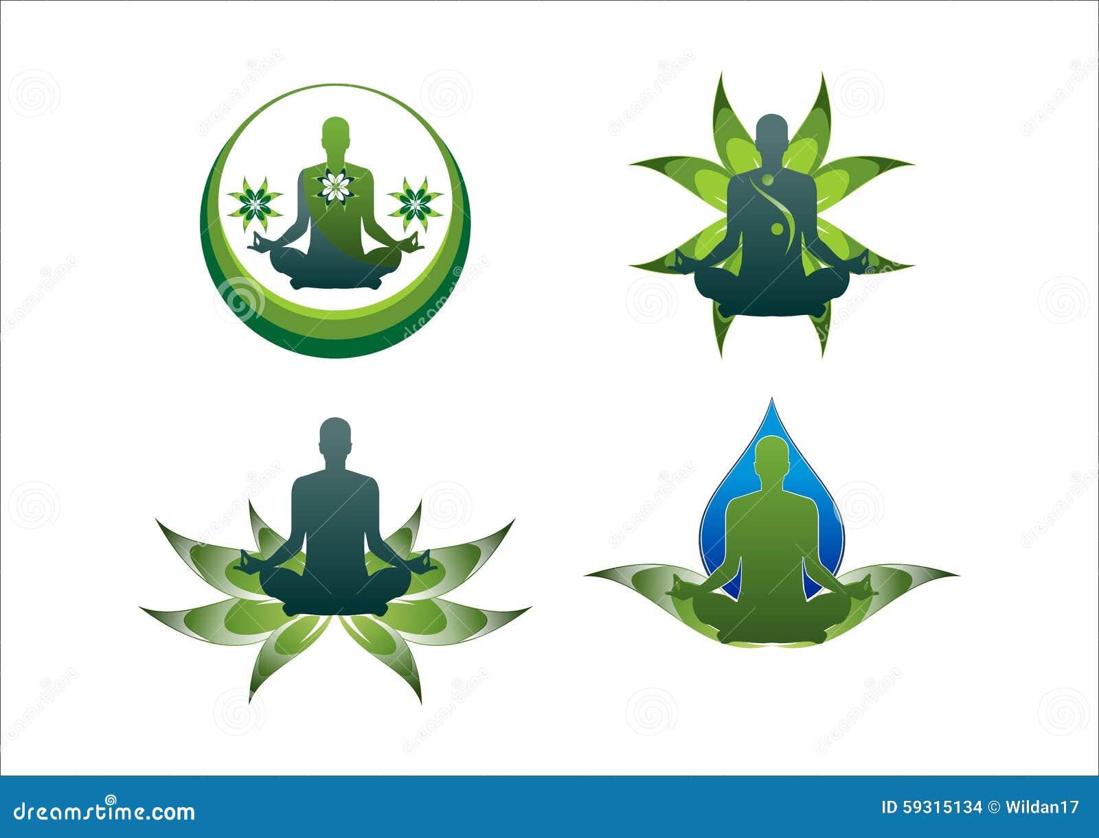 Yoga Logo Green Lotus Leaf Water Icon Stock Vector Illustration Of