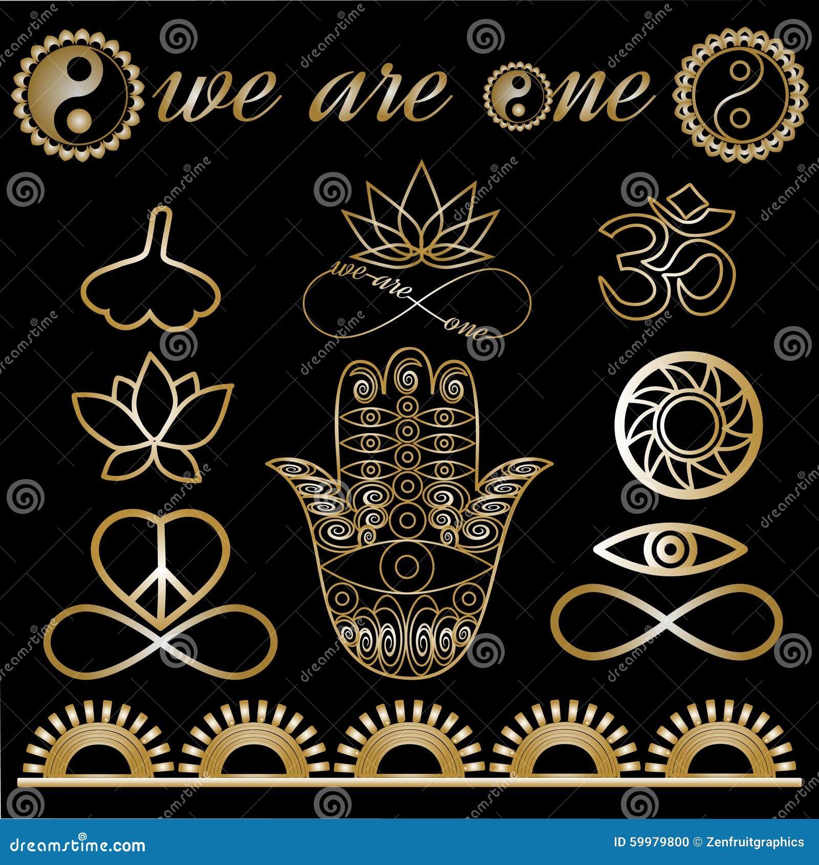 yoga logo yoga icons mystic spiritual symbols gold