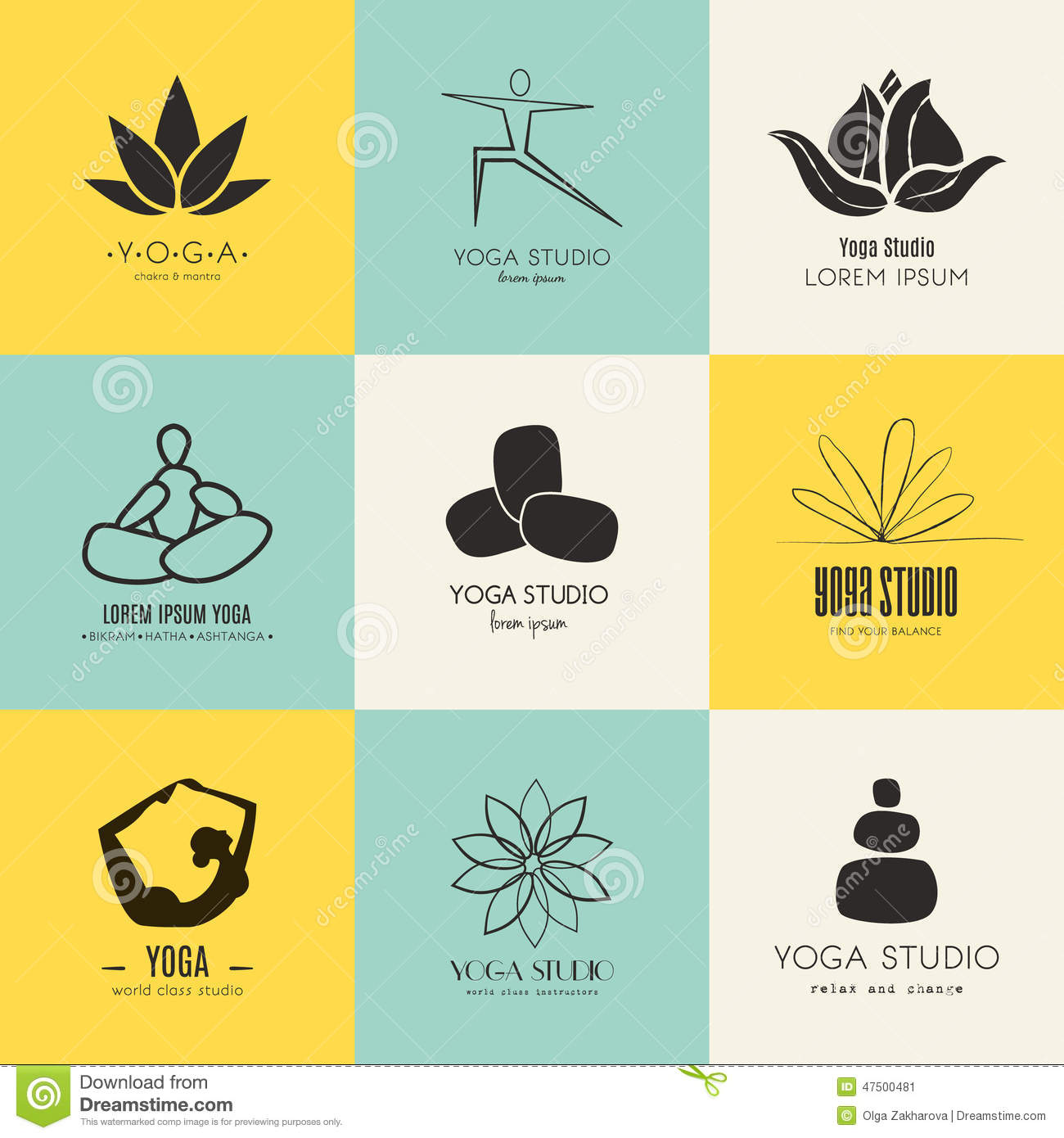 Yoga Logotypes Collection Stock Vector - Image: 47500481