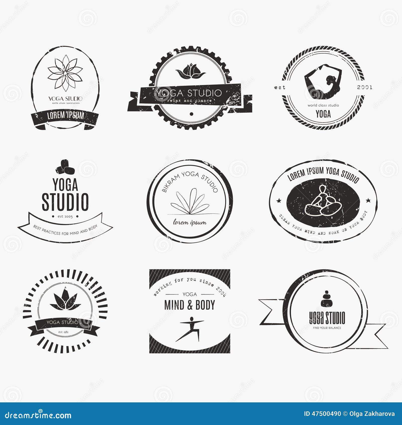 Modern Classroom Vector ~ Yoga logotypes collection stock vector image