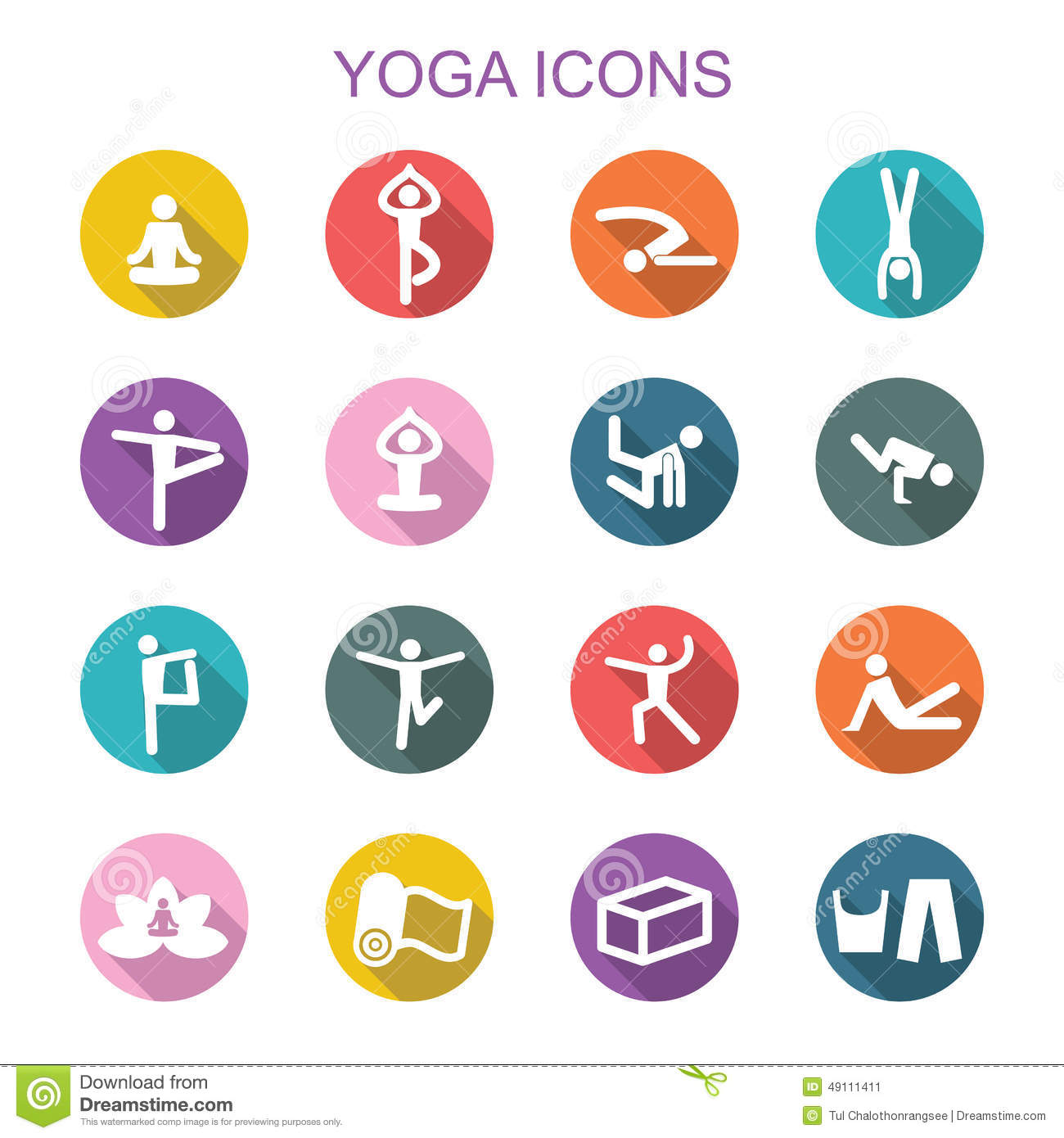 Yoga Long Shadow Icons Stock Vector Image Of Block