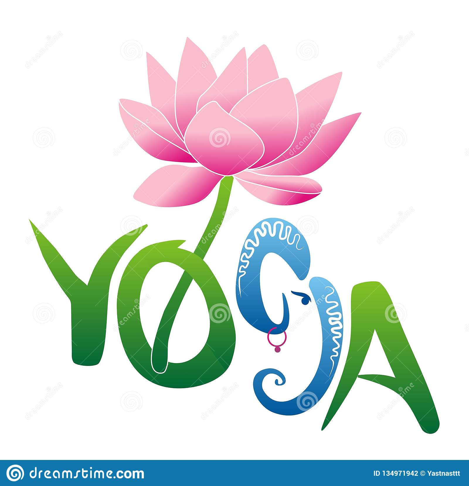 Yoga And Lotus Flower Ganesh Hinduism Stock Illustration