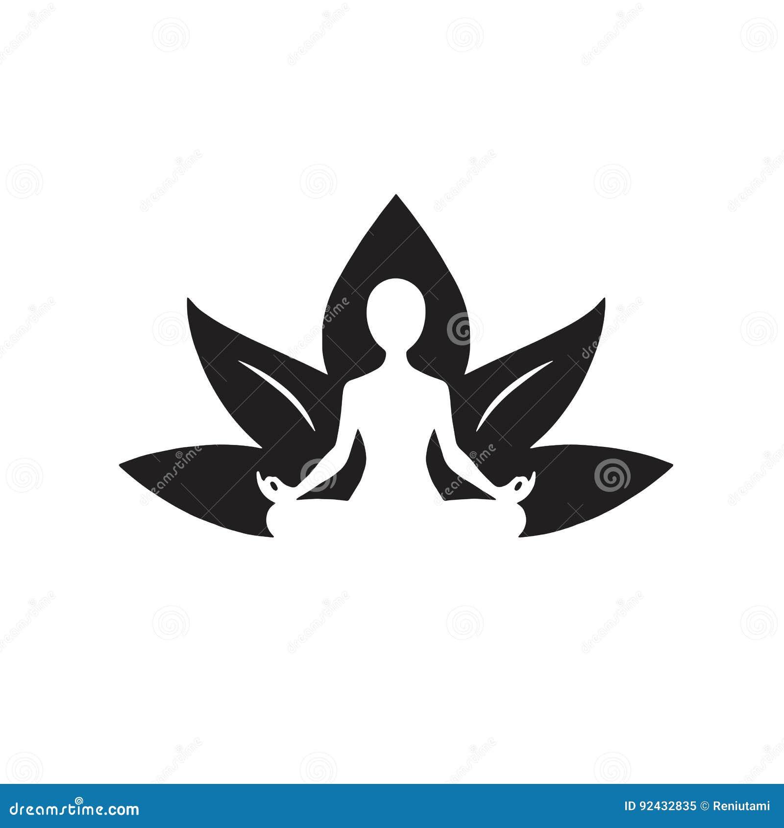 Yoga Lotus Icon Black Et Dessin Blanc Illustration De