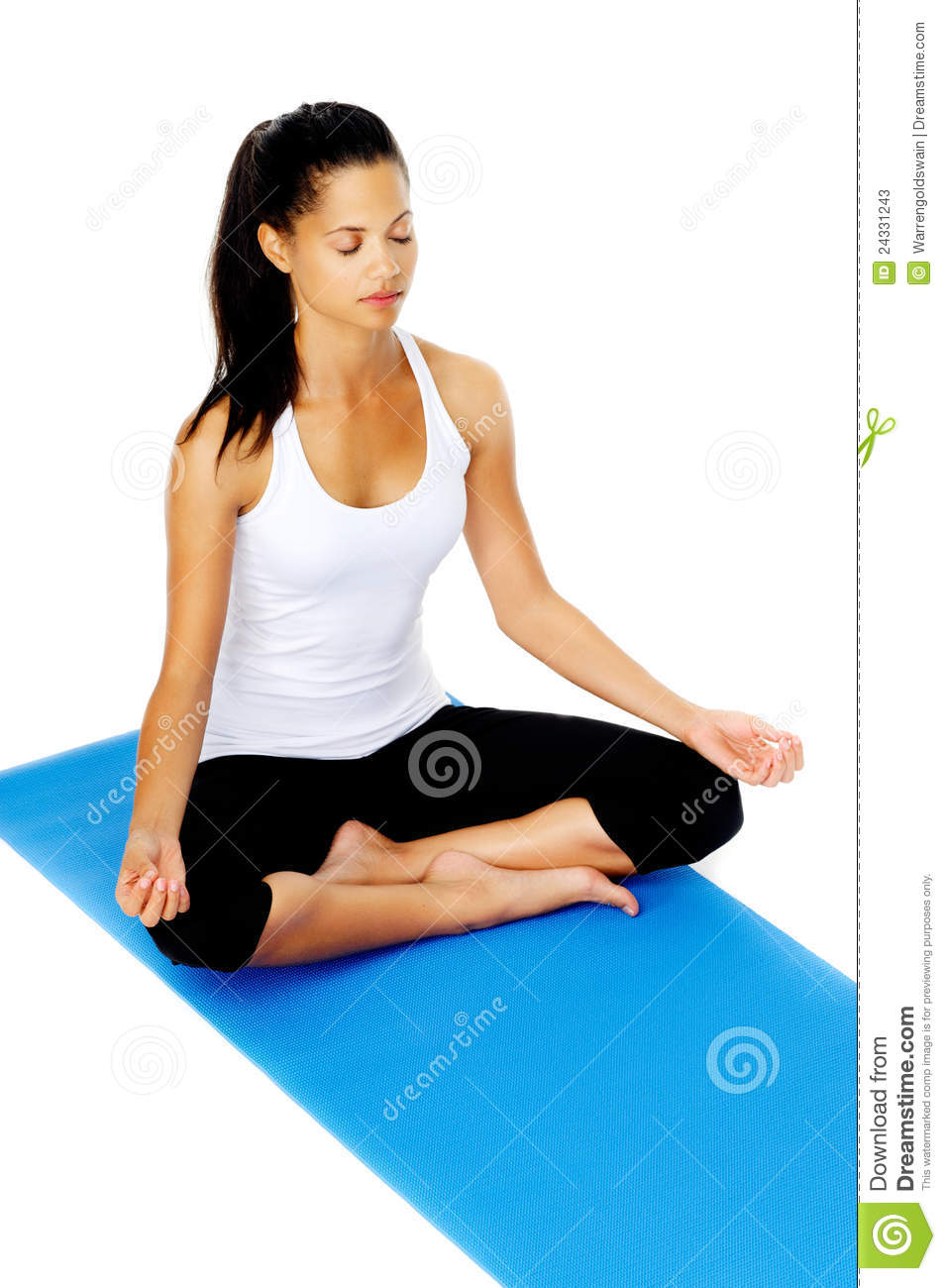 woman lotus pose yoga mat. This is part of a series of various yoga ...