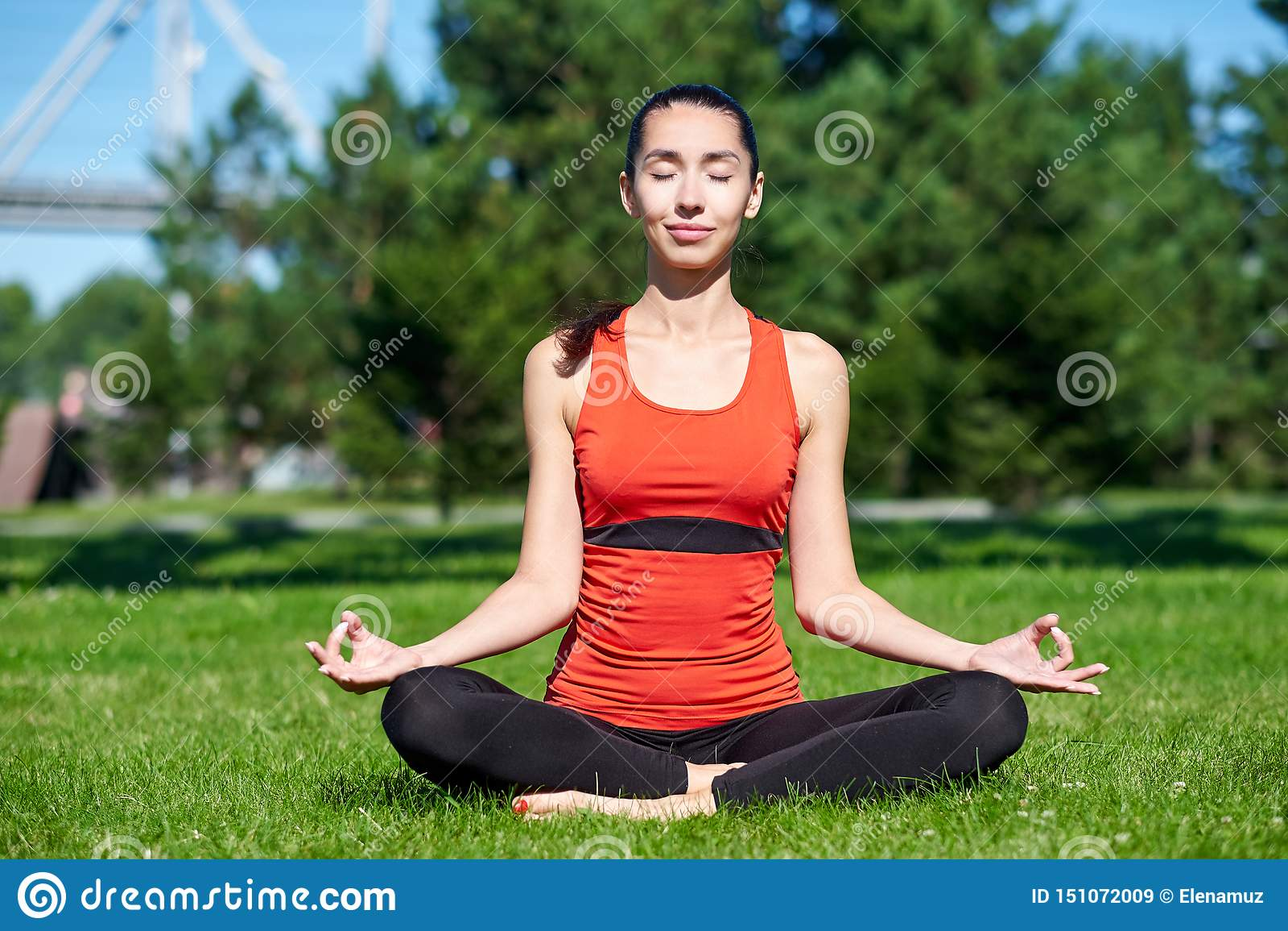 Yoga M?ditation de pratique de yoga de jeune femme en nature un parc Posture de Lotus Concept de mode de vie de sant?