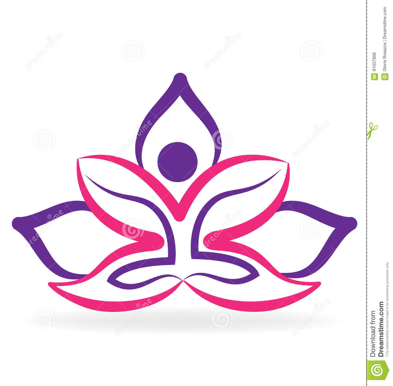 Yoga Man With Lotus Flower Logo Stock Vector Illustration Of