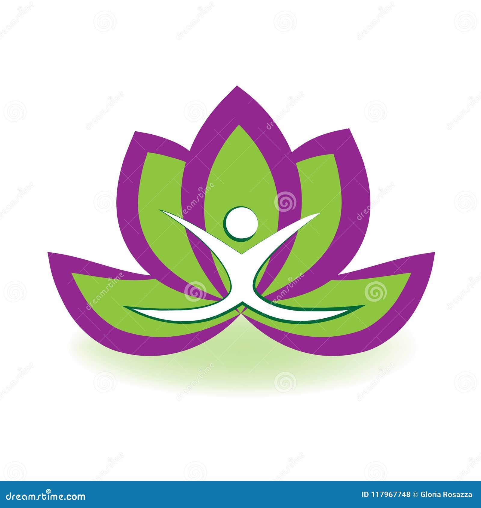 Yoga Man And Lotus Flower Logo Vector Image Illustration Graphic