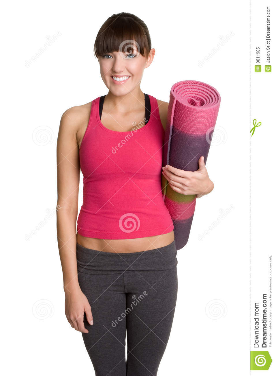 Yoga Mat Girl Stock Image Image Of Smiling Isolated