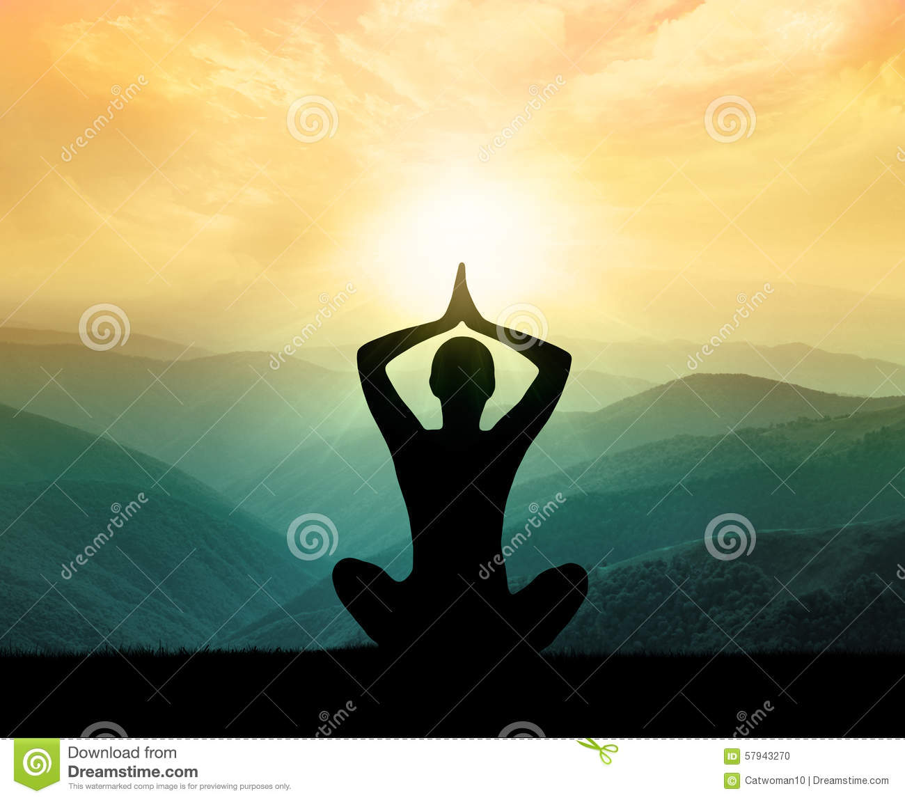 Yoga And Meditation Silhouette Stock Photo