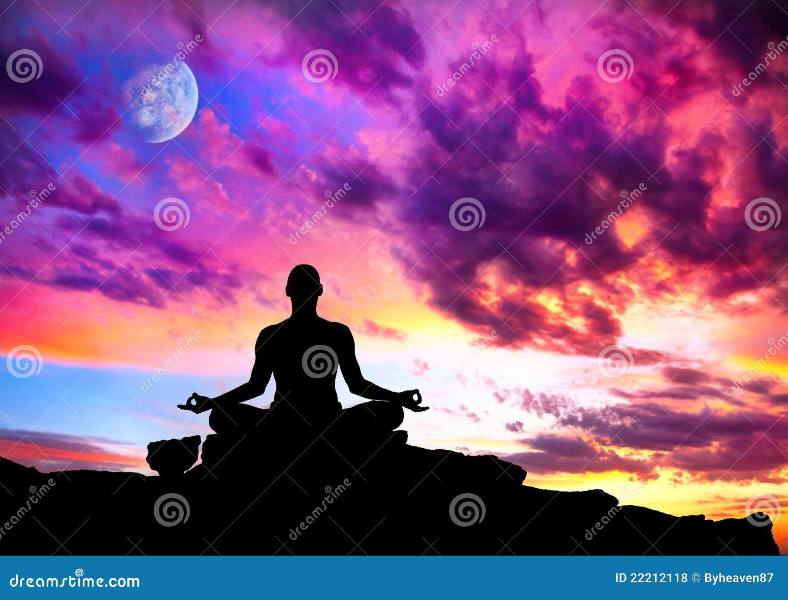 Yoga meditation in lotus pose by man silhouette with moon and purple    Yoga Meditation Pose Silhouette