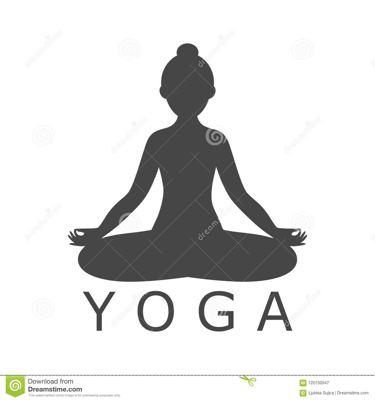 Yoga Meditation Zen Pose Logo Silhouette Symbol Icon Stock Vector