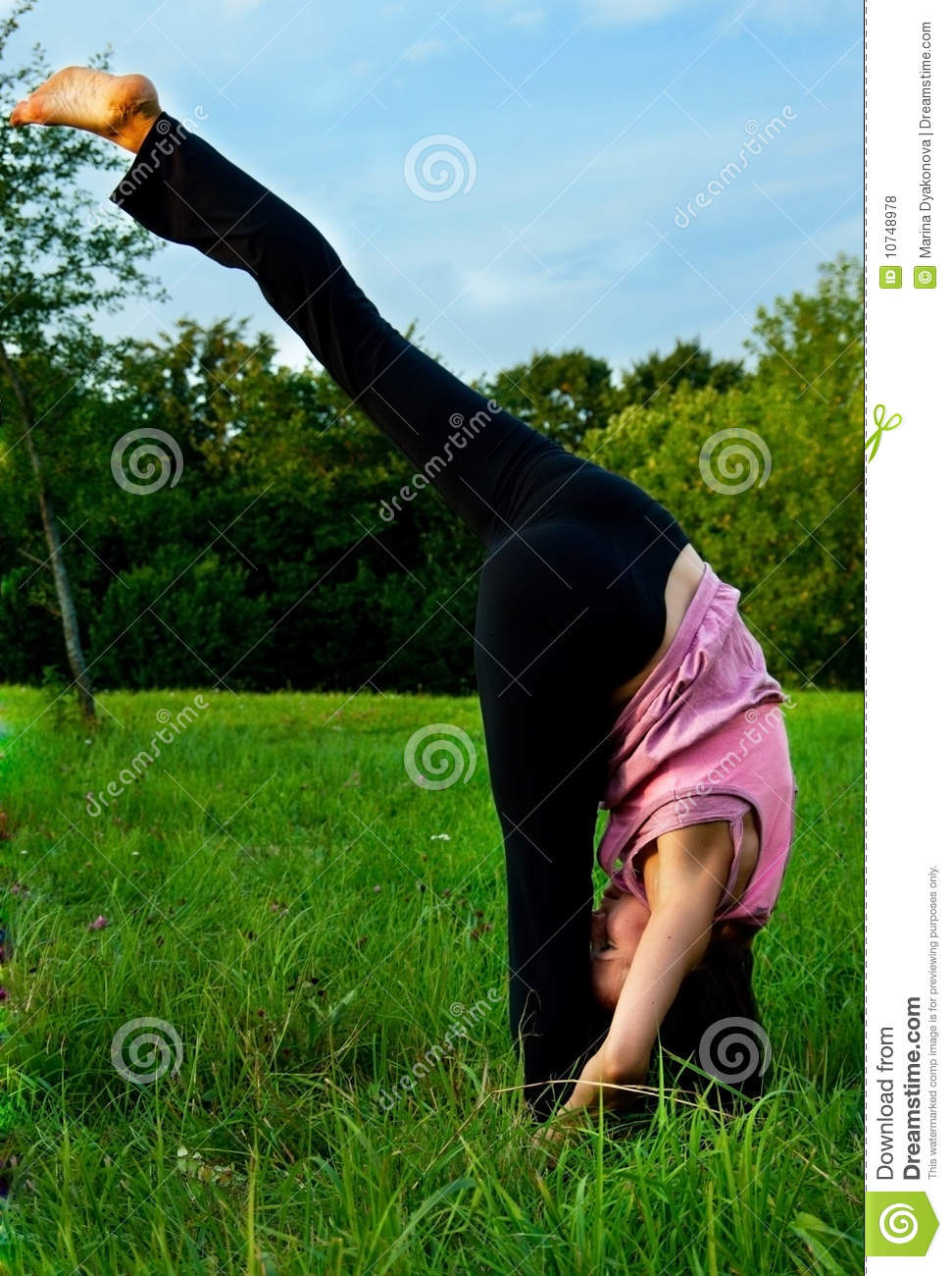 Yoga in nature stock photo. Image of enjoy, field, freedom ...