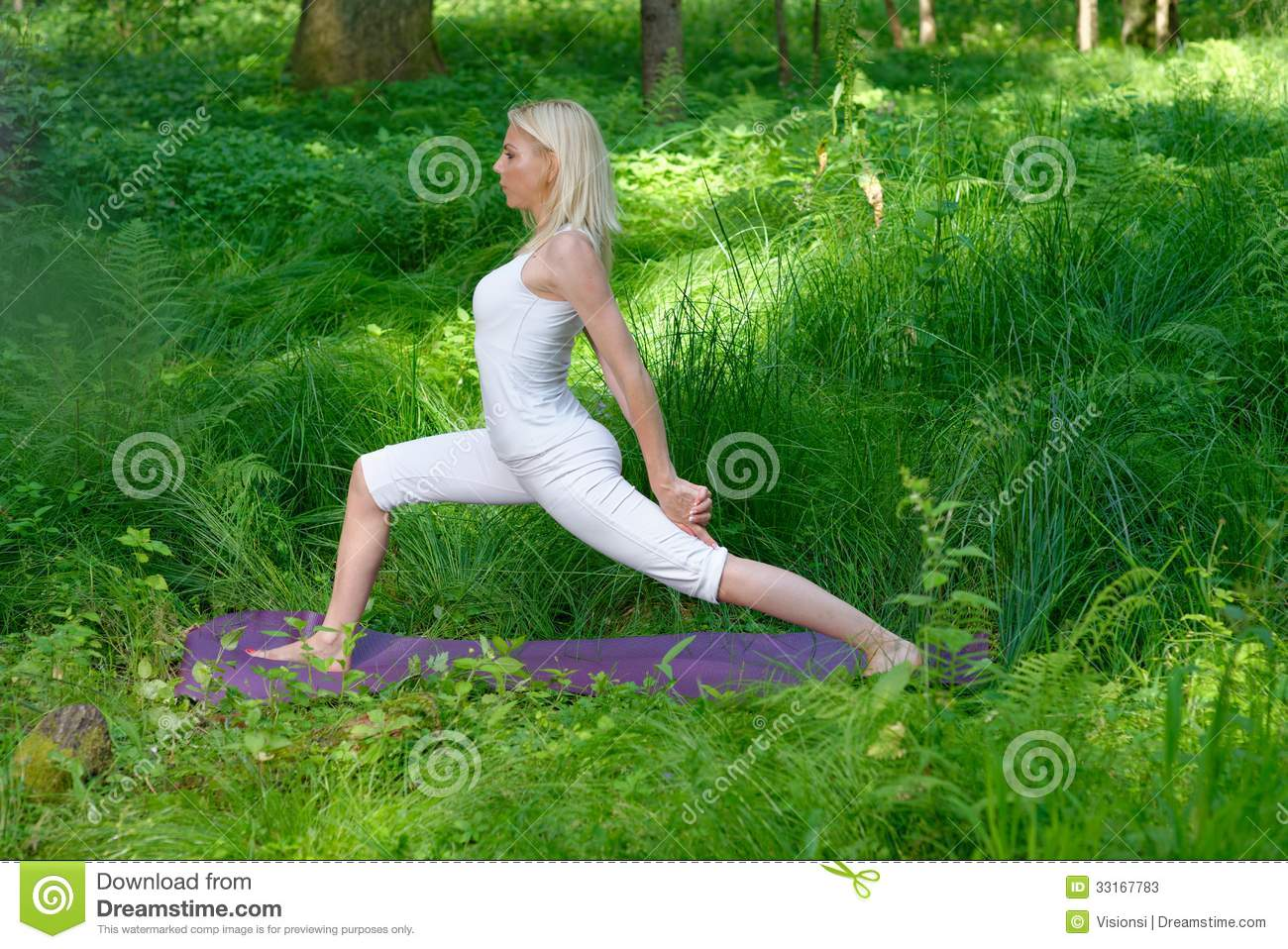 Yoga in nature stock image. Image of beauty, girl ...
