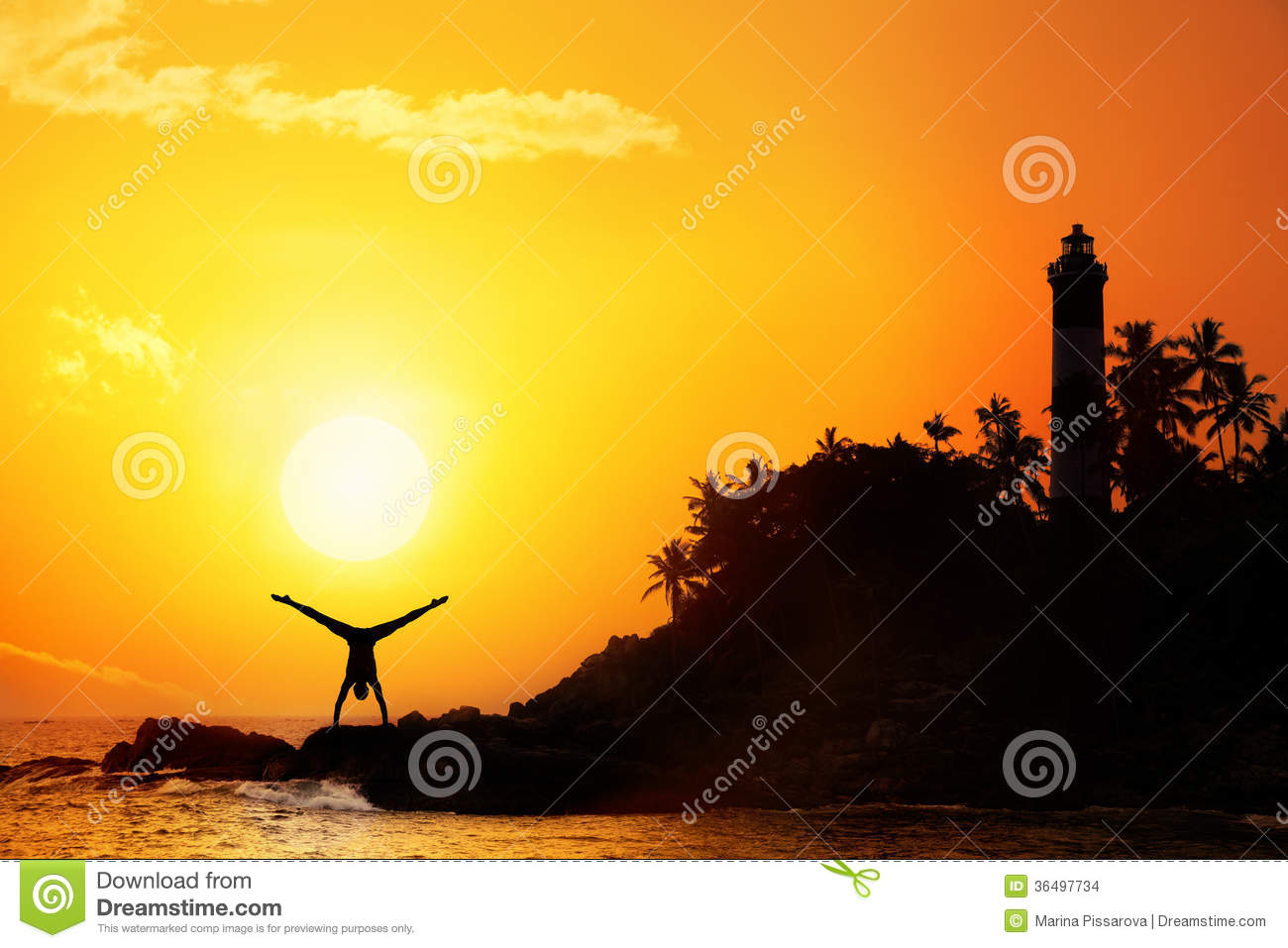 Download Yoga near lighthouse stock photo. Image of calm, peace - 36497734