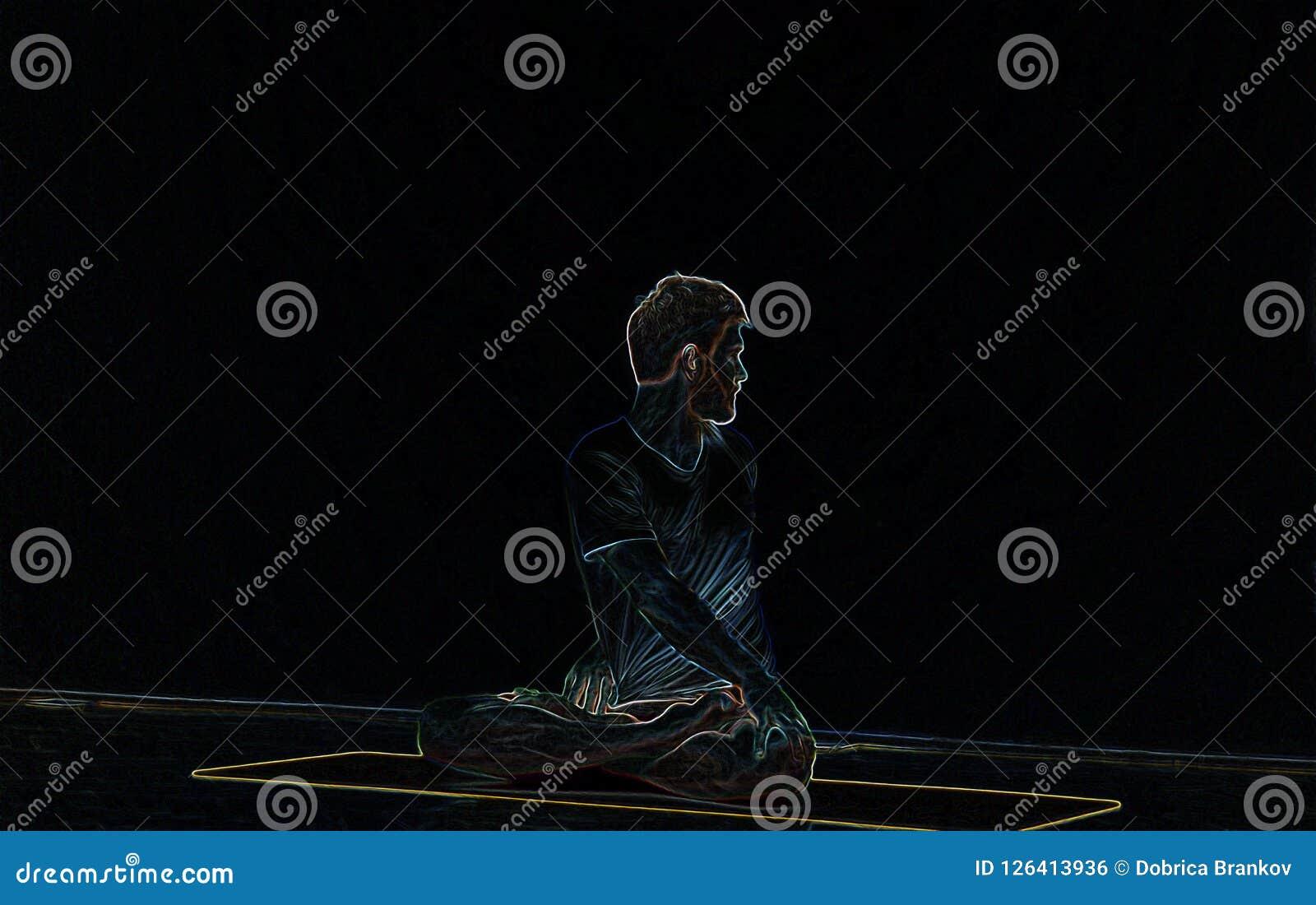 Yoga neon light effect.