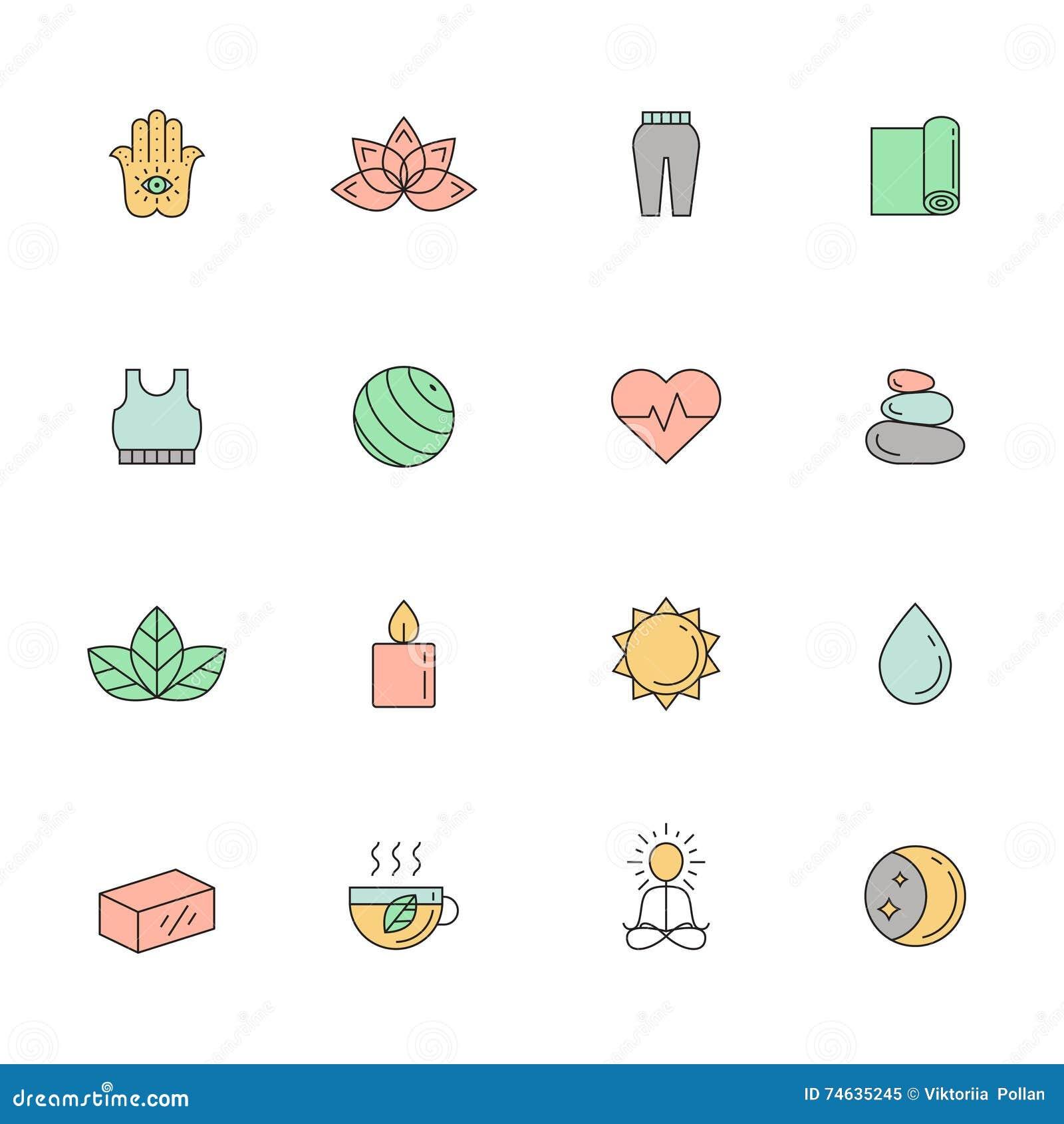 Yoga och brunnsort färgad symbolsvektoruppsättning Enkel översiktsdesign