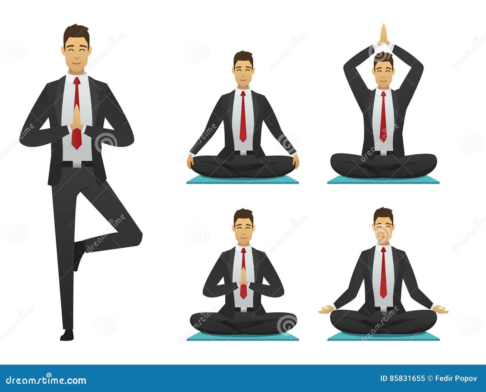 Office Meditation. Yoga Office Man Poses Illustration Meditation