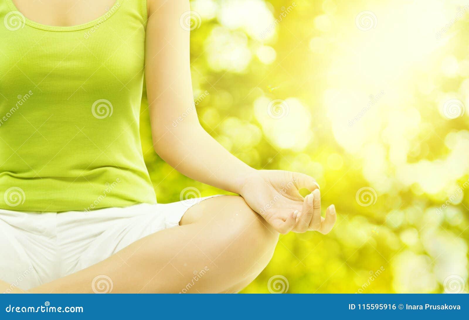 Yoga Outdoor Meditation, Woman Body Meditating, Human Hand