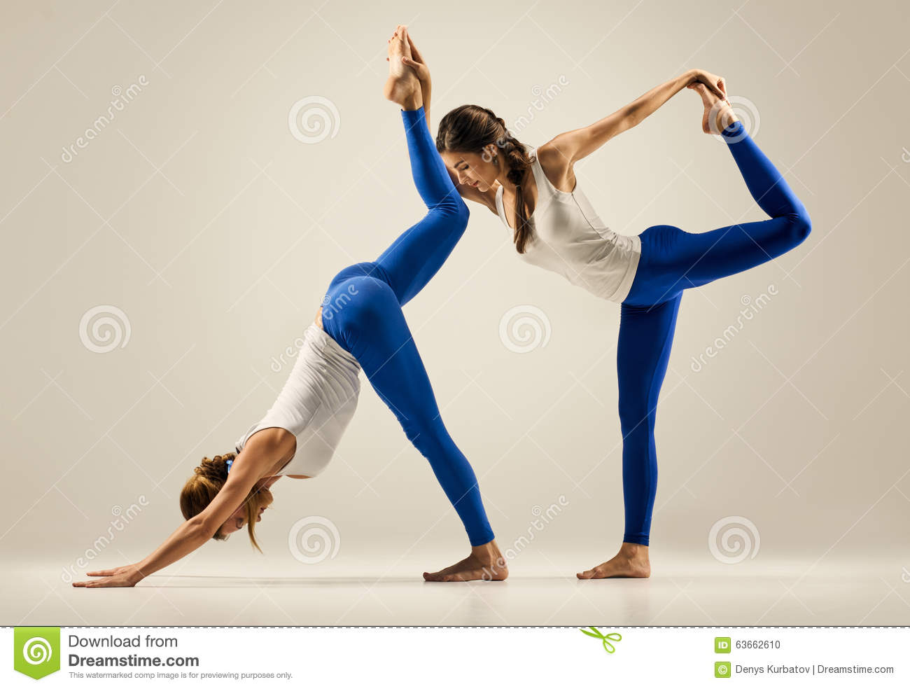 Download Yoga In Pair Couple Women Duo Pose Stock Photo