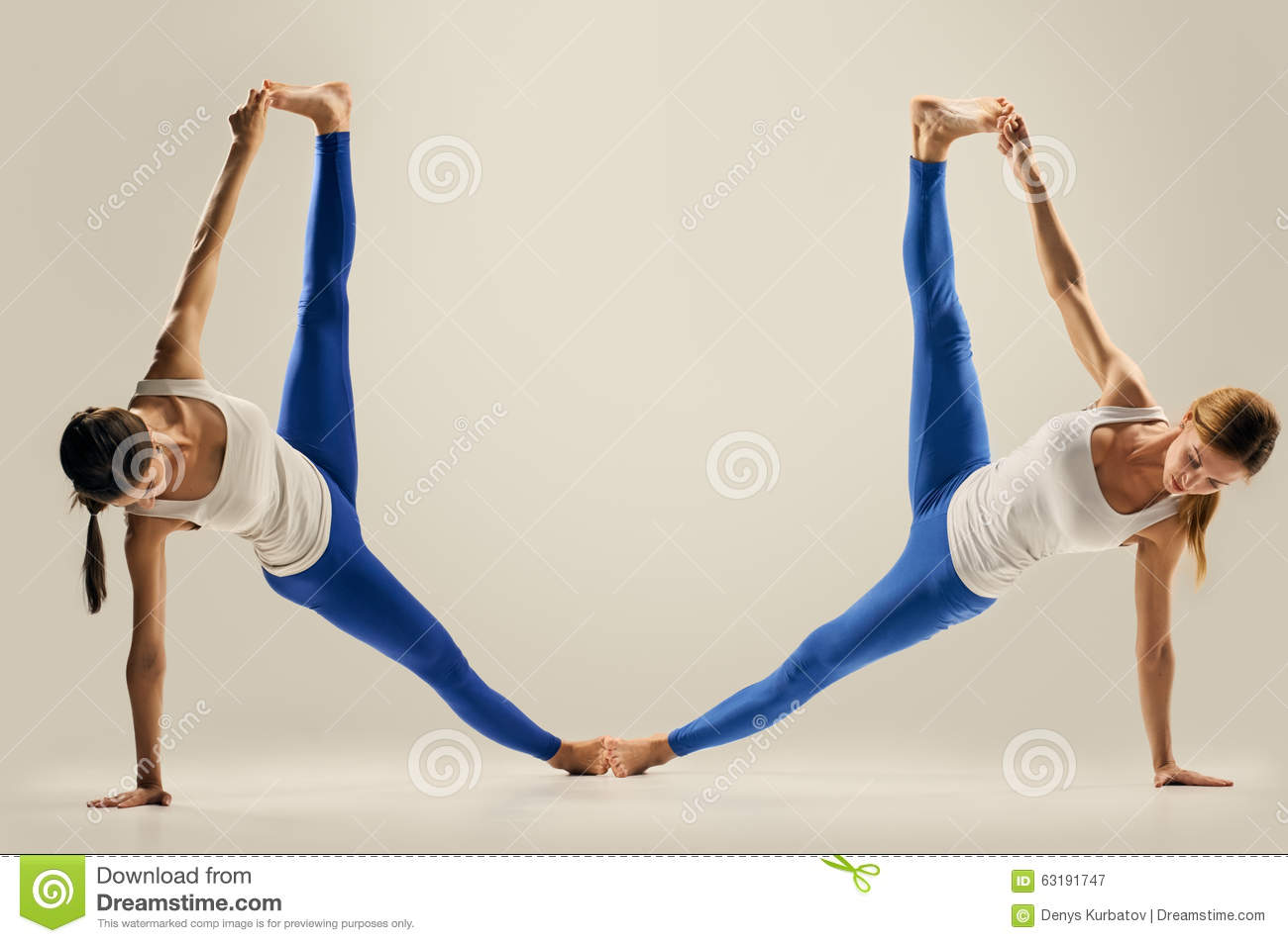 Yoga In Pair. Figure. The Splits Stock Image - Image: 63191747