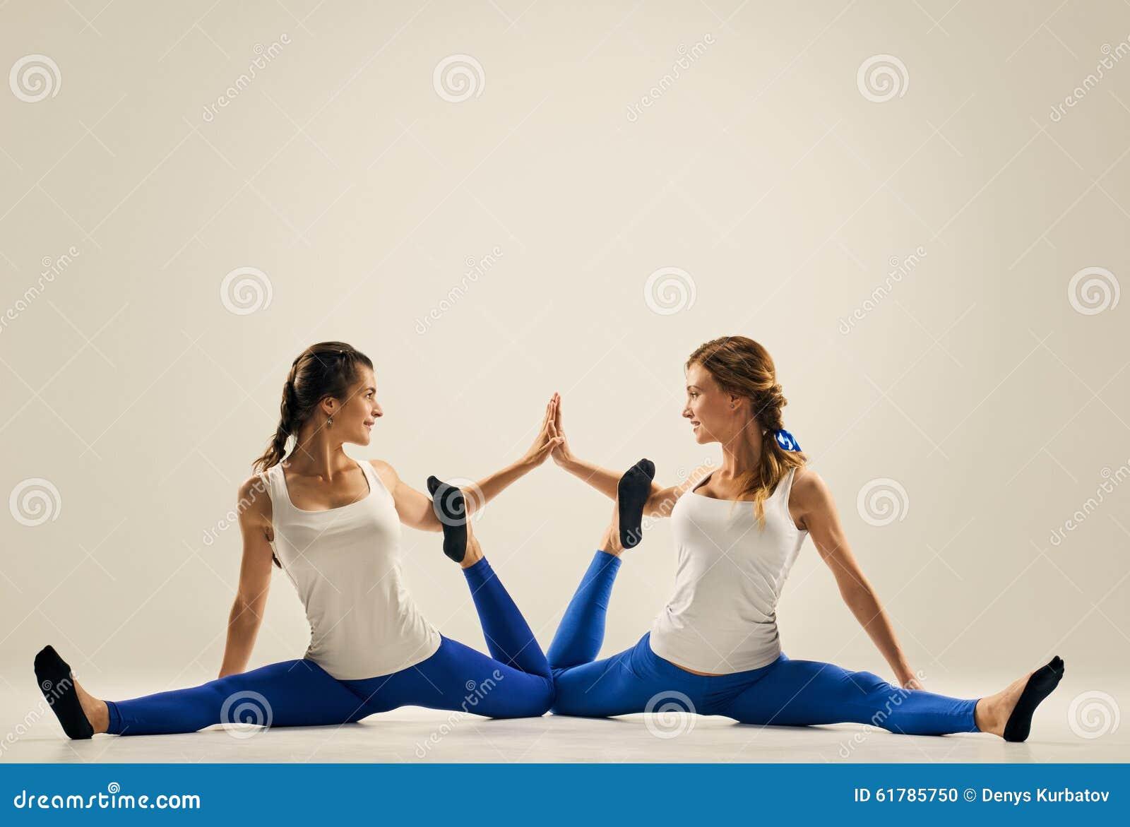Yoga In Pair. Partner Splits Stock Photo - Image of asana ...