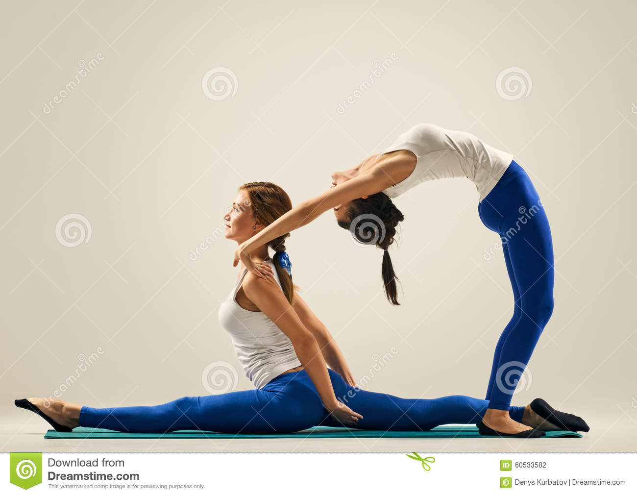 Yoga In Pair. Partner Splits Stock Photo - Image: 61785750
