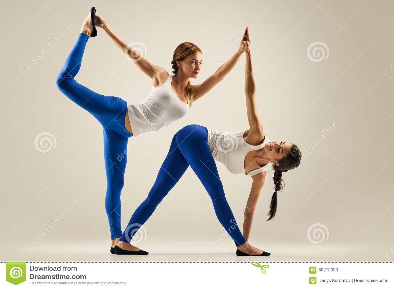 Download Yoga In Pair Women Duo Balance Stock Photo