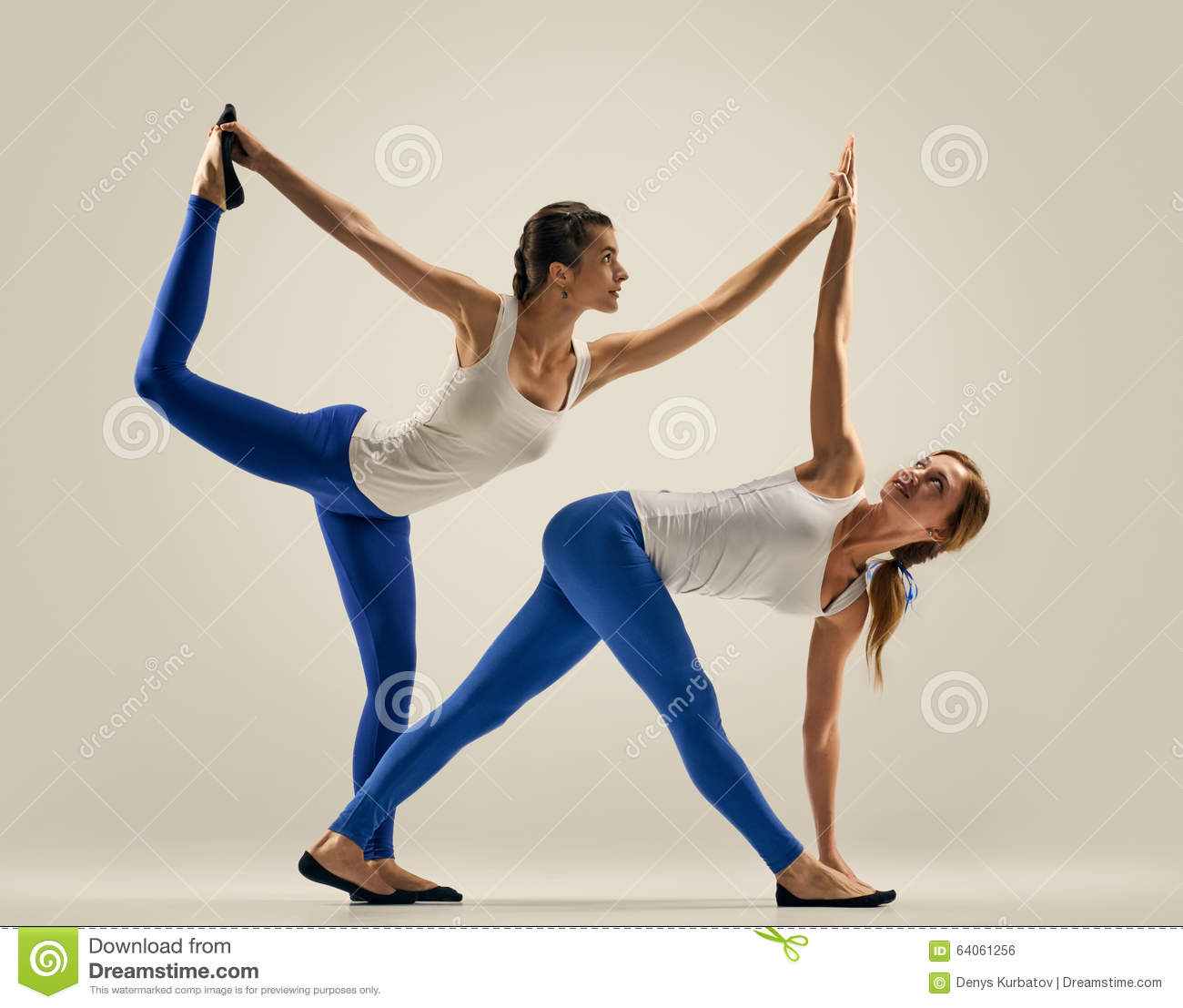 Yoga In Pair Women Duo Balance Sporty Yogi Sisters Doing Fitness Training