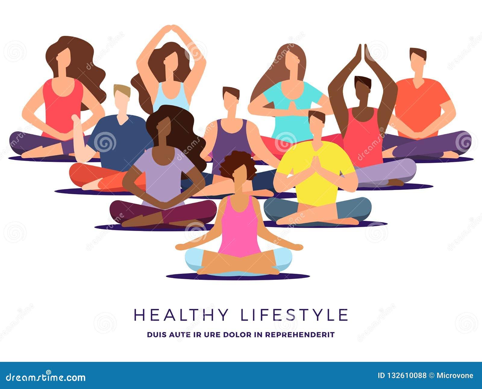 Yoga Or Pilates Class Vector Illustration Meditation Woman And Man Stock Vector Illustration Of Concept Position 132610088