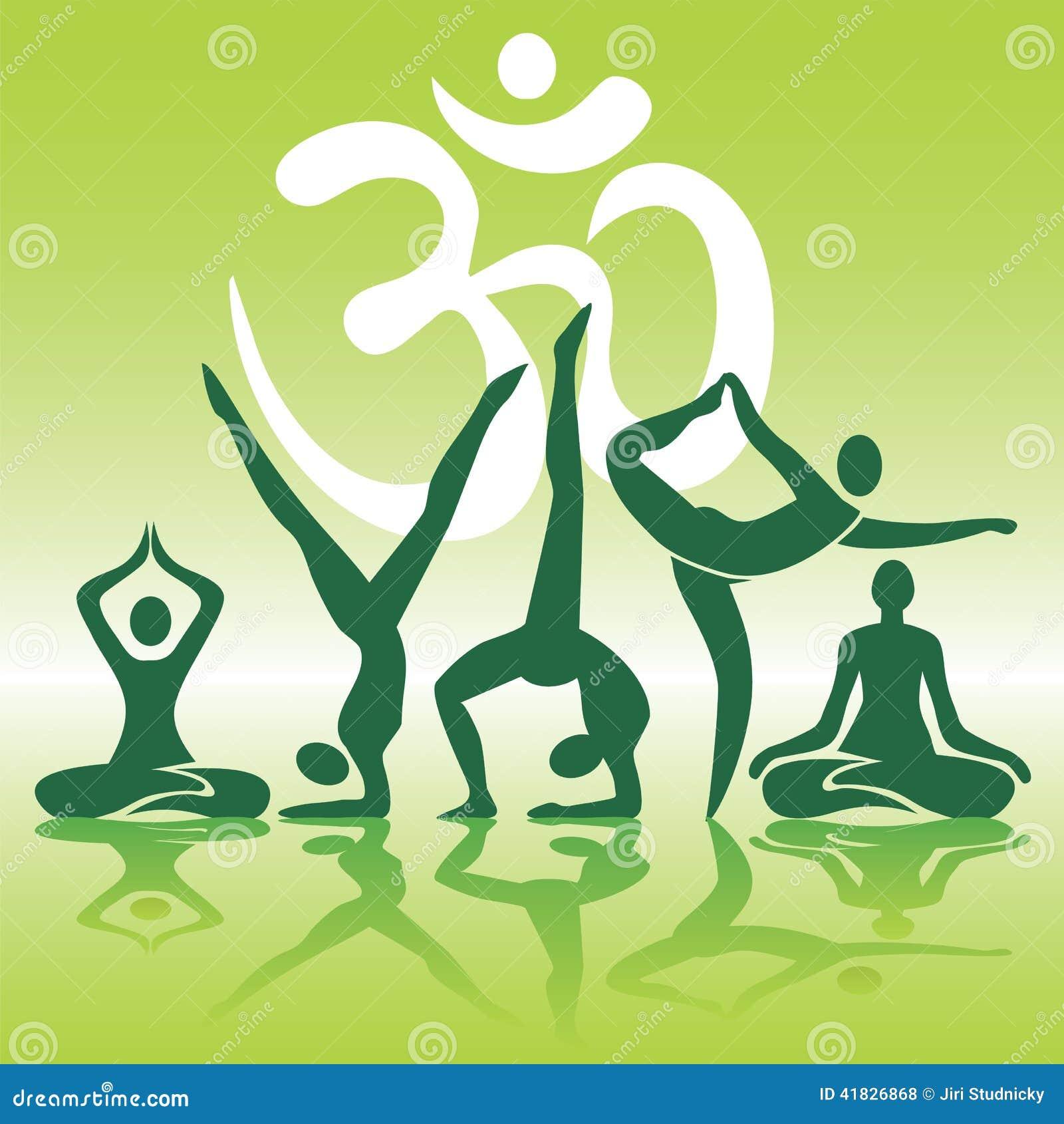 Yoga placerar konturer på grön bakgrund