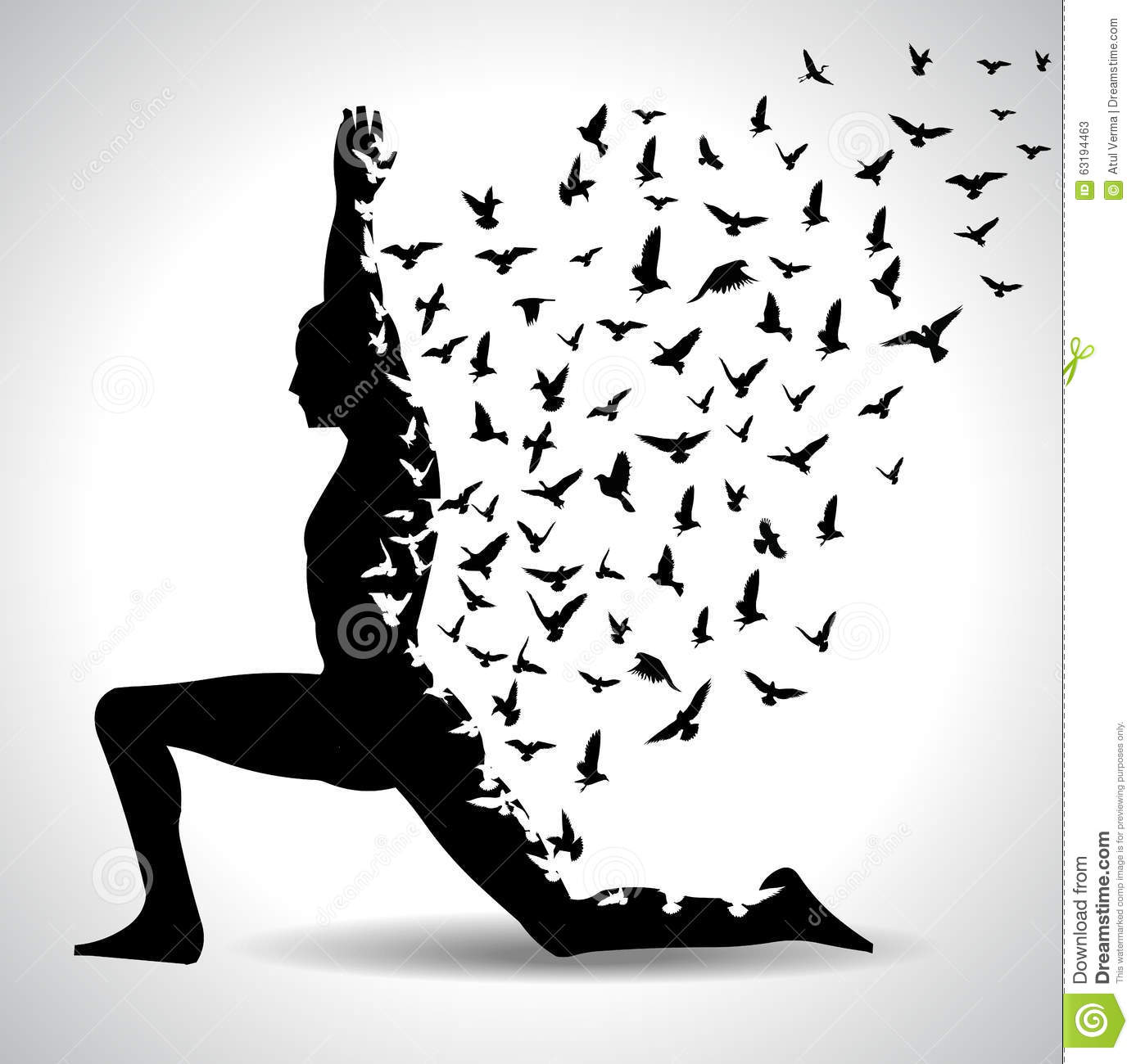 Yoga Pose With Birds Flying From Human Body Black And White Poster Illustration 63194463