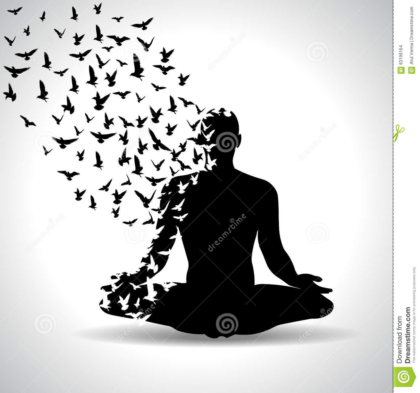 Download Yoga Pose With Birds Flying From Human Body Black And White Poster Stock