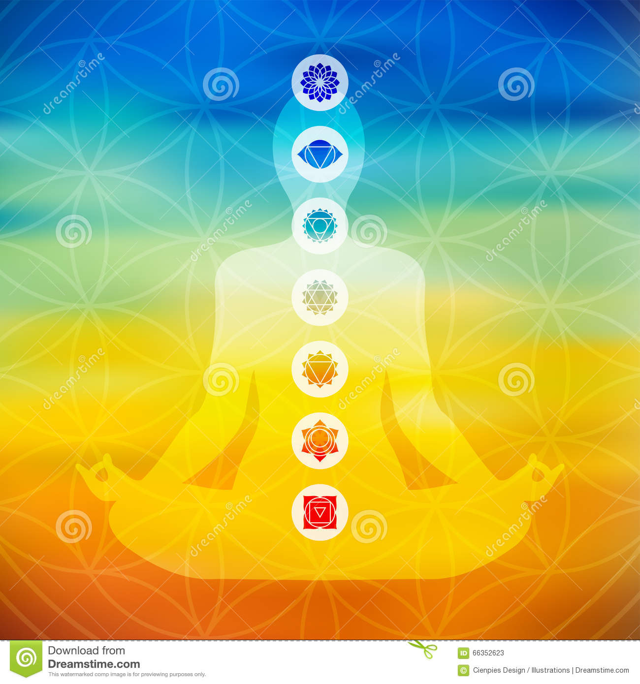 Yoga Pose With Chakra Icons Stock Vector Illustration Of Element